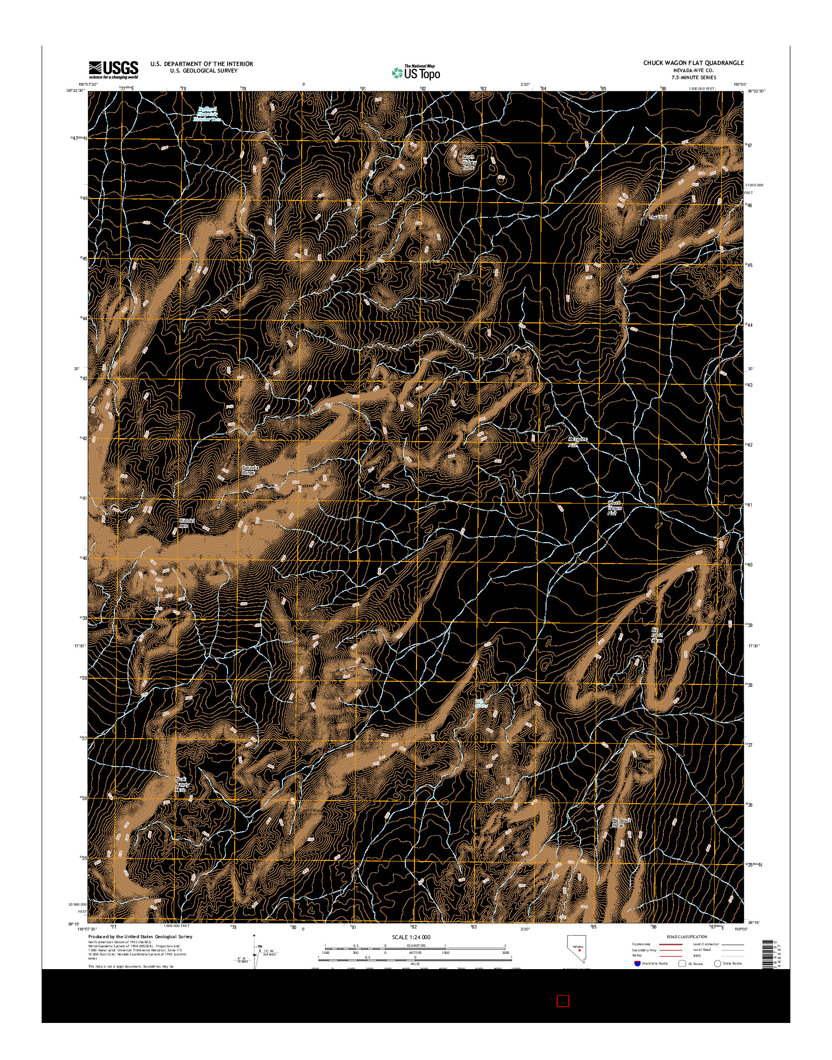 USGS US TOPO 7.5-MINUTE MAP FOR CHUCK WAGON FLAT, NV 2014