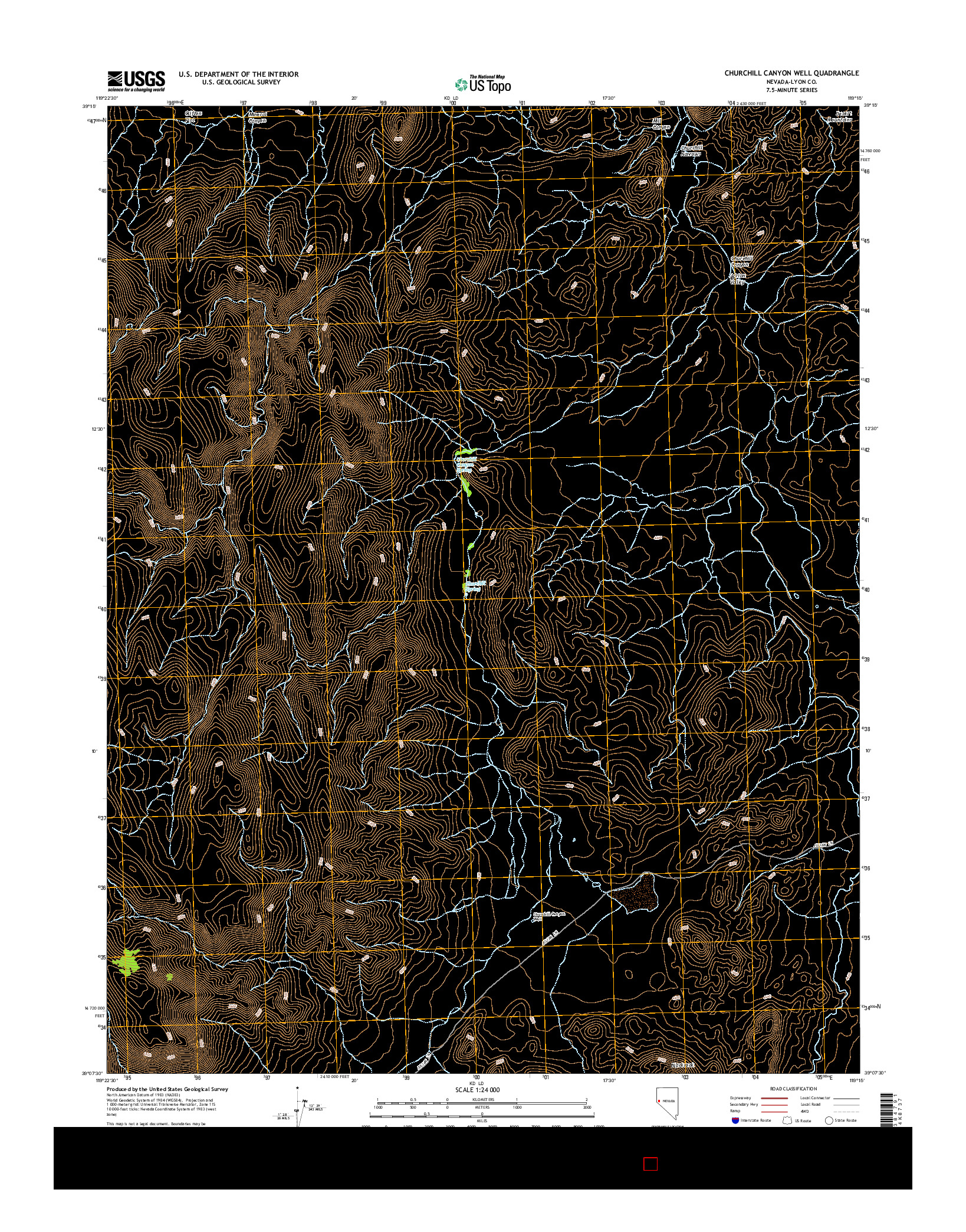 USGS US TOPO 7.5-MINUTE MAP FOR CHURCHILL CANYON WELL, NV 2014