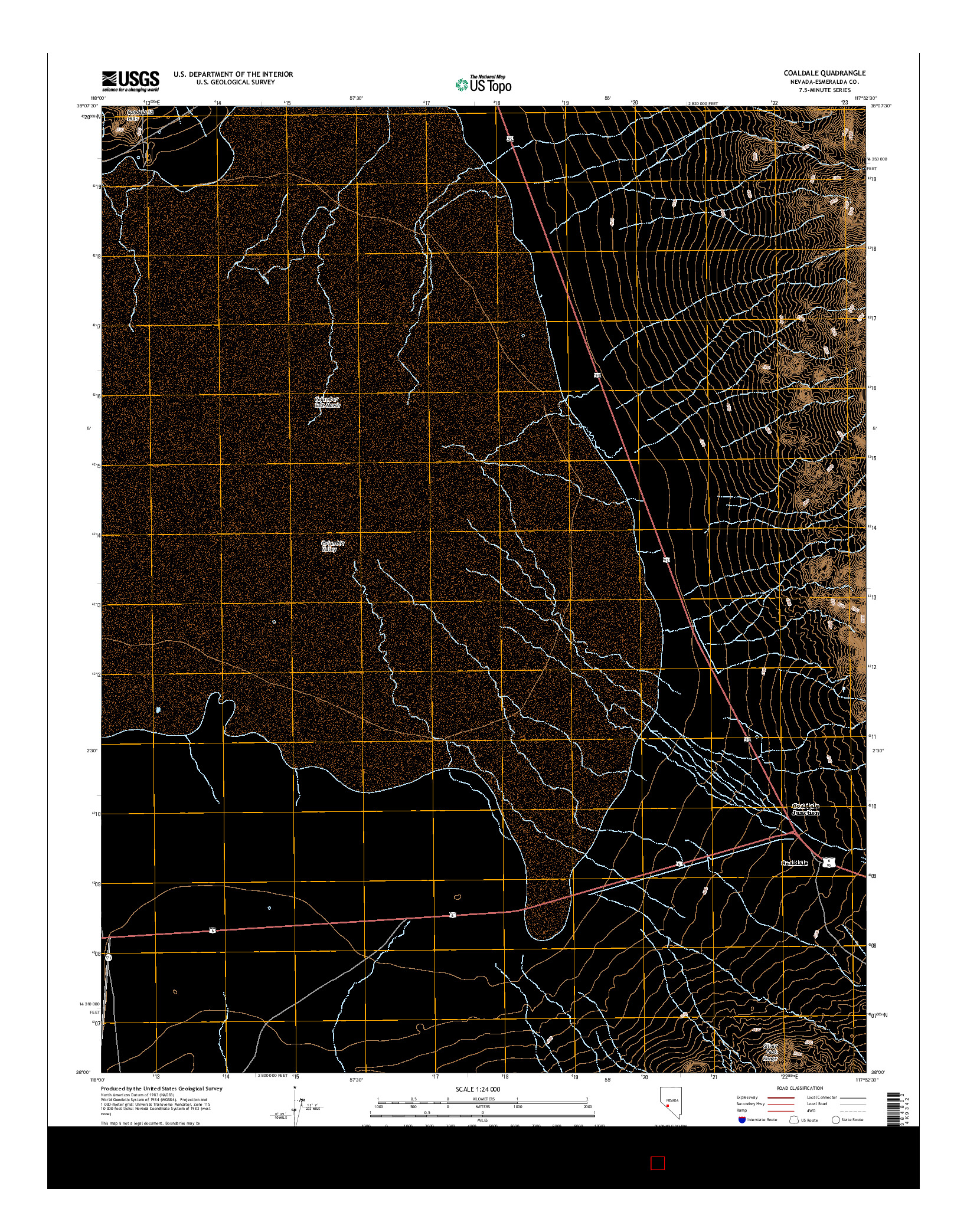 USGS US TOPO 7.5-MINUTE MAP FOR COALDALE, NV 2014