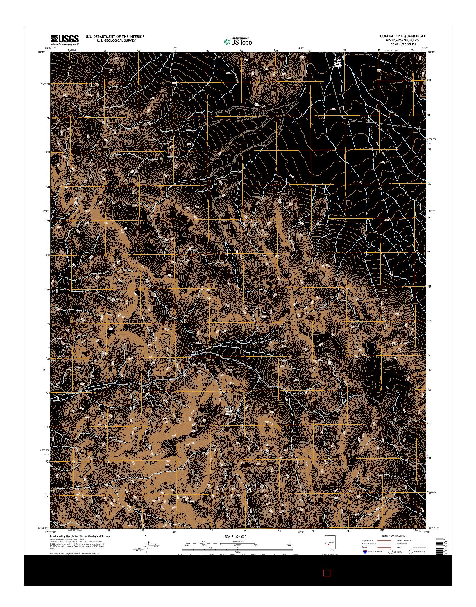 USGS US TOPO 7.5-MINUTE MAP FOR COALDALE NE, NV 2014