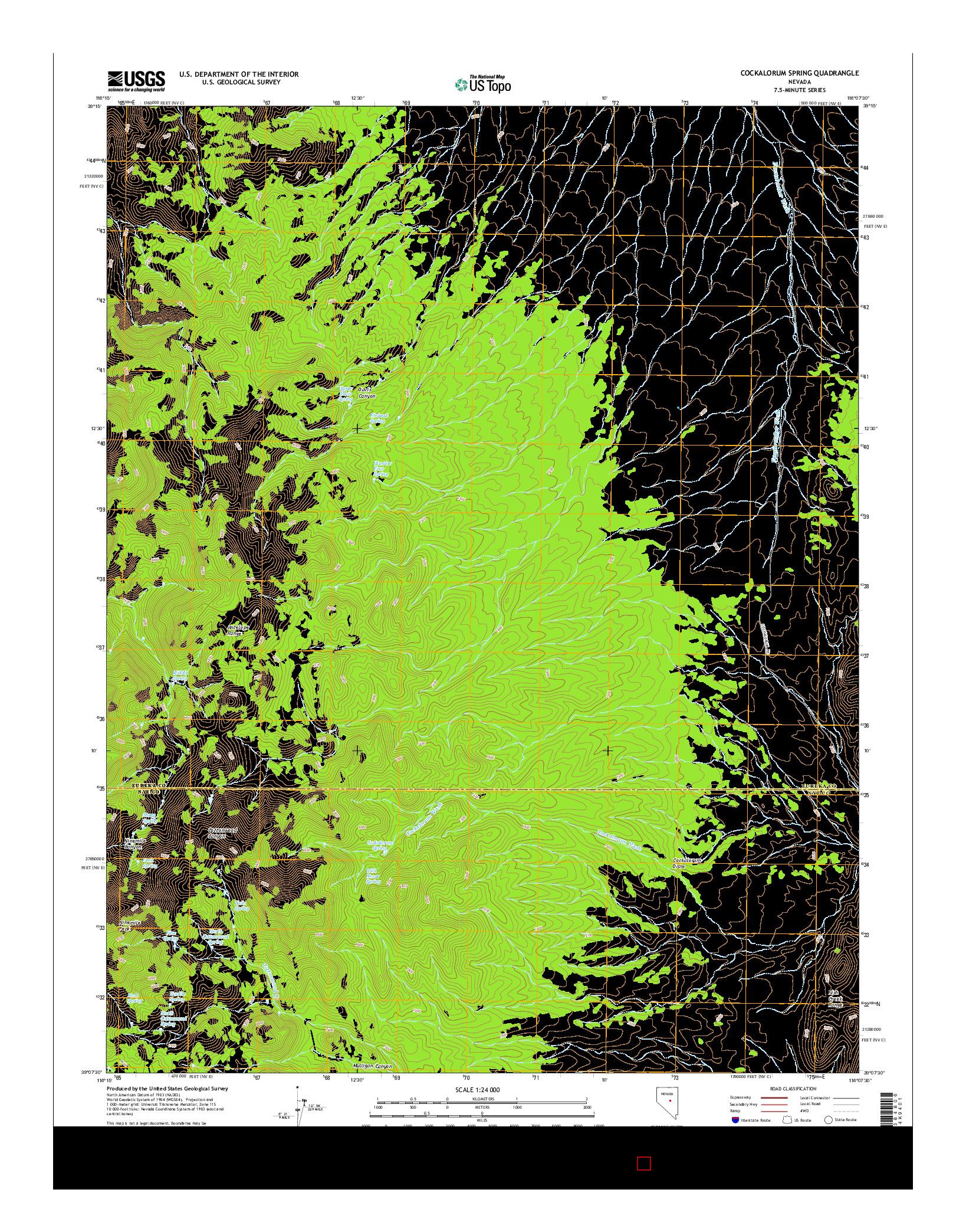 USGS US TOPO 7.5-MINUTE MAP FOR COCKALORUM SPRING, NV 2014