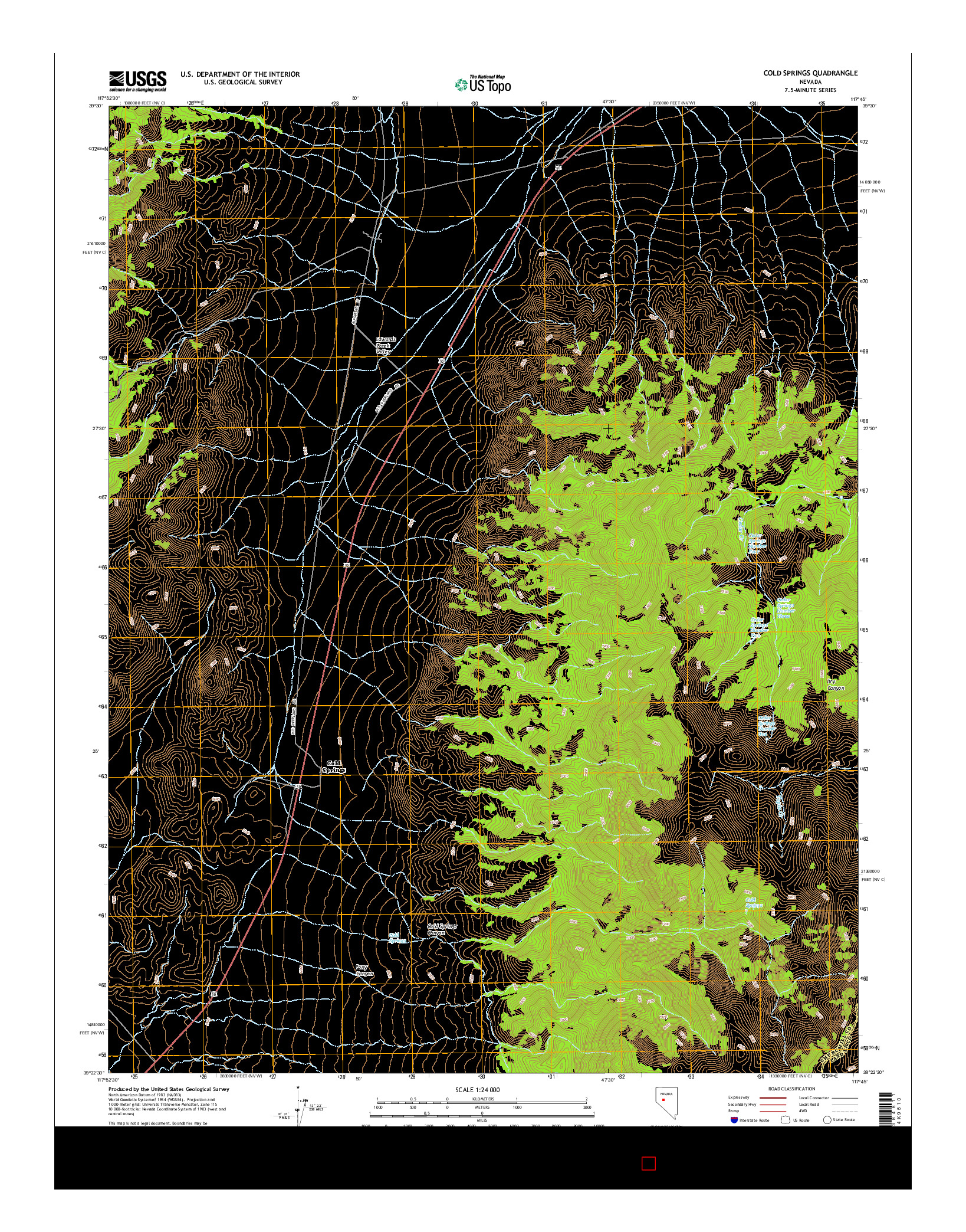 USGS US TOPO 7.5-MINUTE MAP FOR COLD SPRINGS, NV 2014