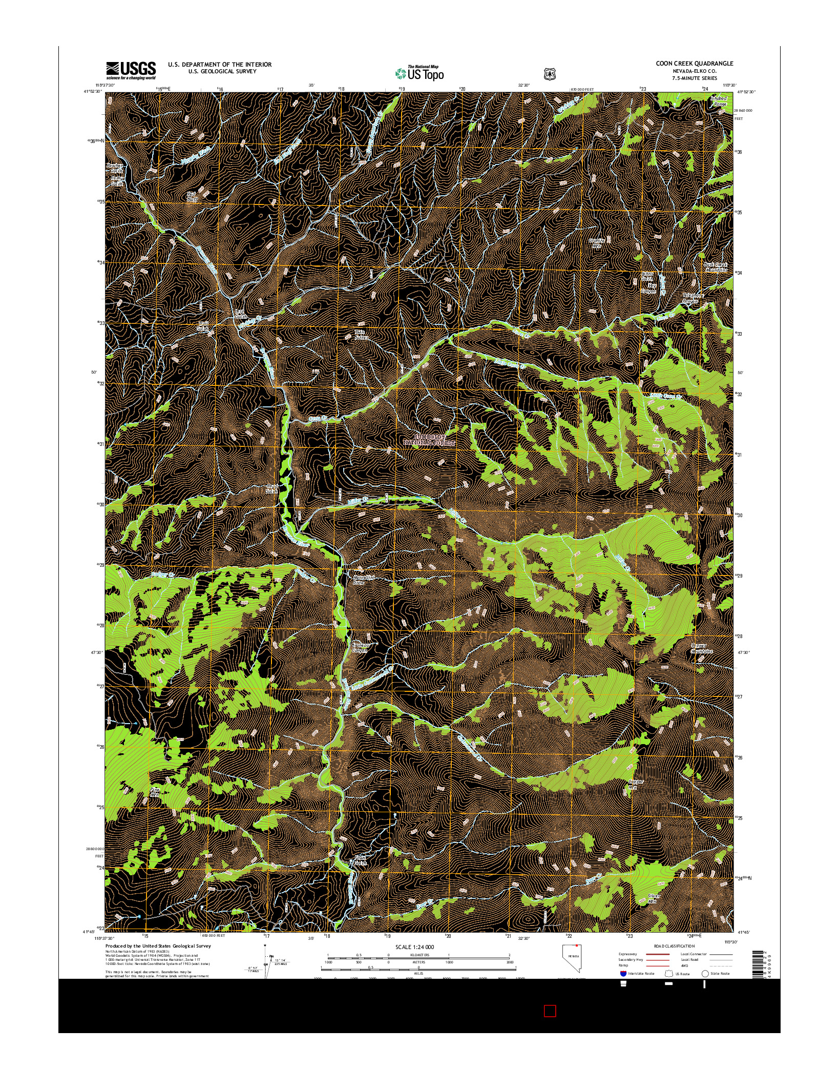 USGS US TOPO 7.5-MINUTE MAP FOR COON CREEK, NV 2014