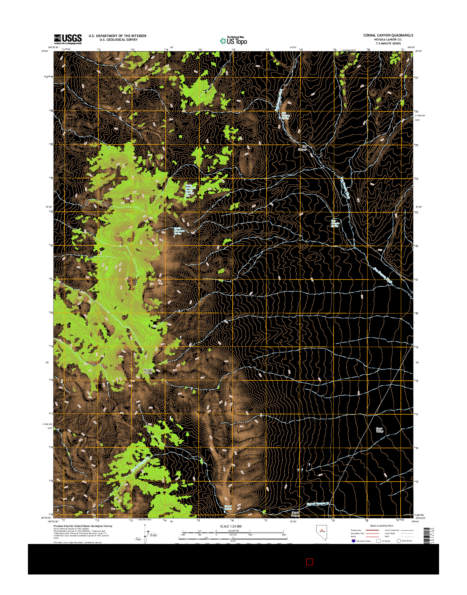 USGS US TOPO 7.5-MINUTE MAP FOR CORRAL CANYON, NV 2014