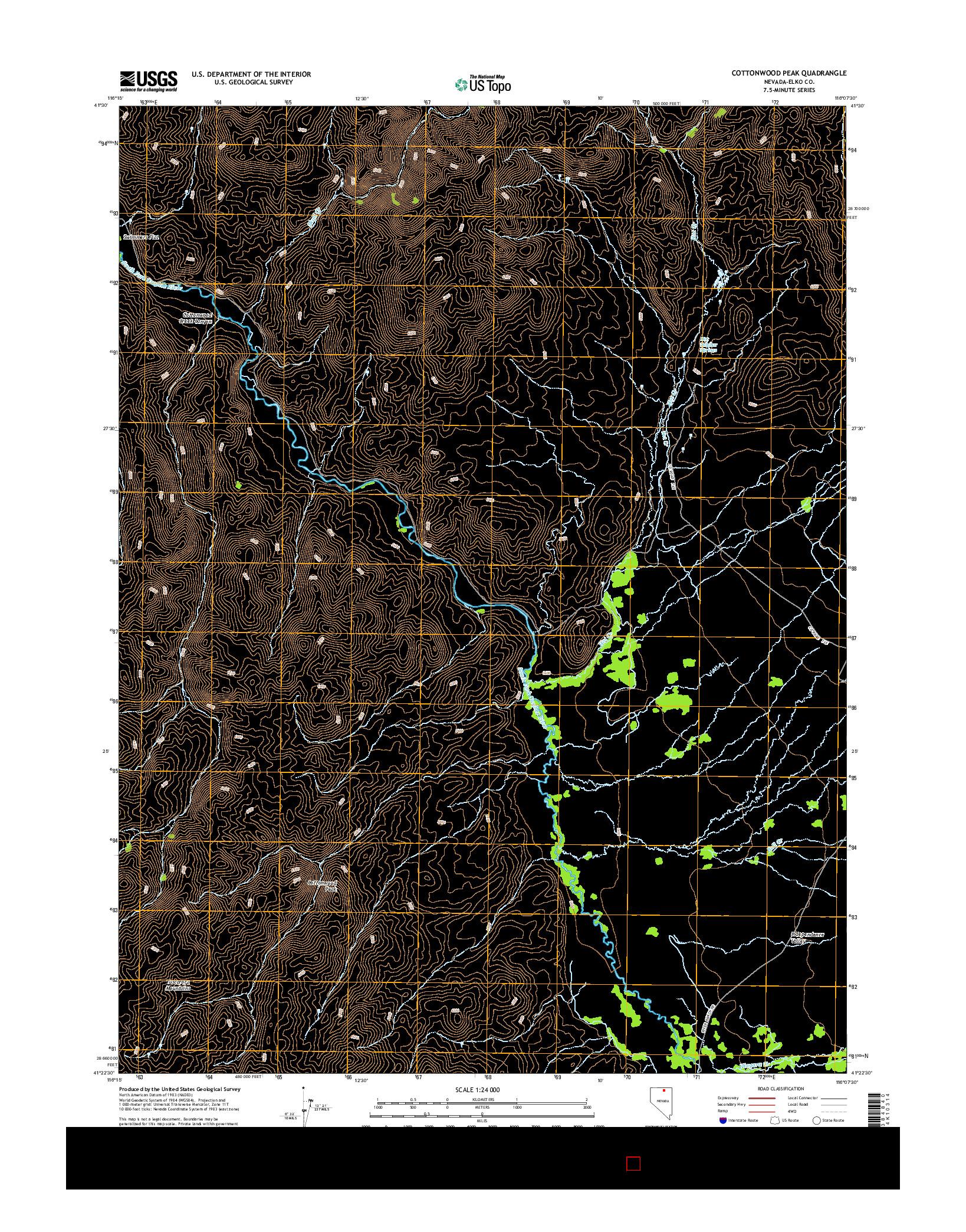 USGS US TOPO 7.5-MINUTE MAP FOR COTTONWOOD PEAK, NV 2014