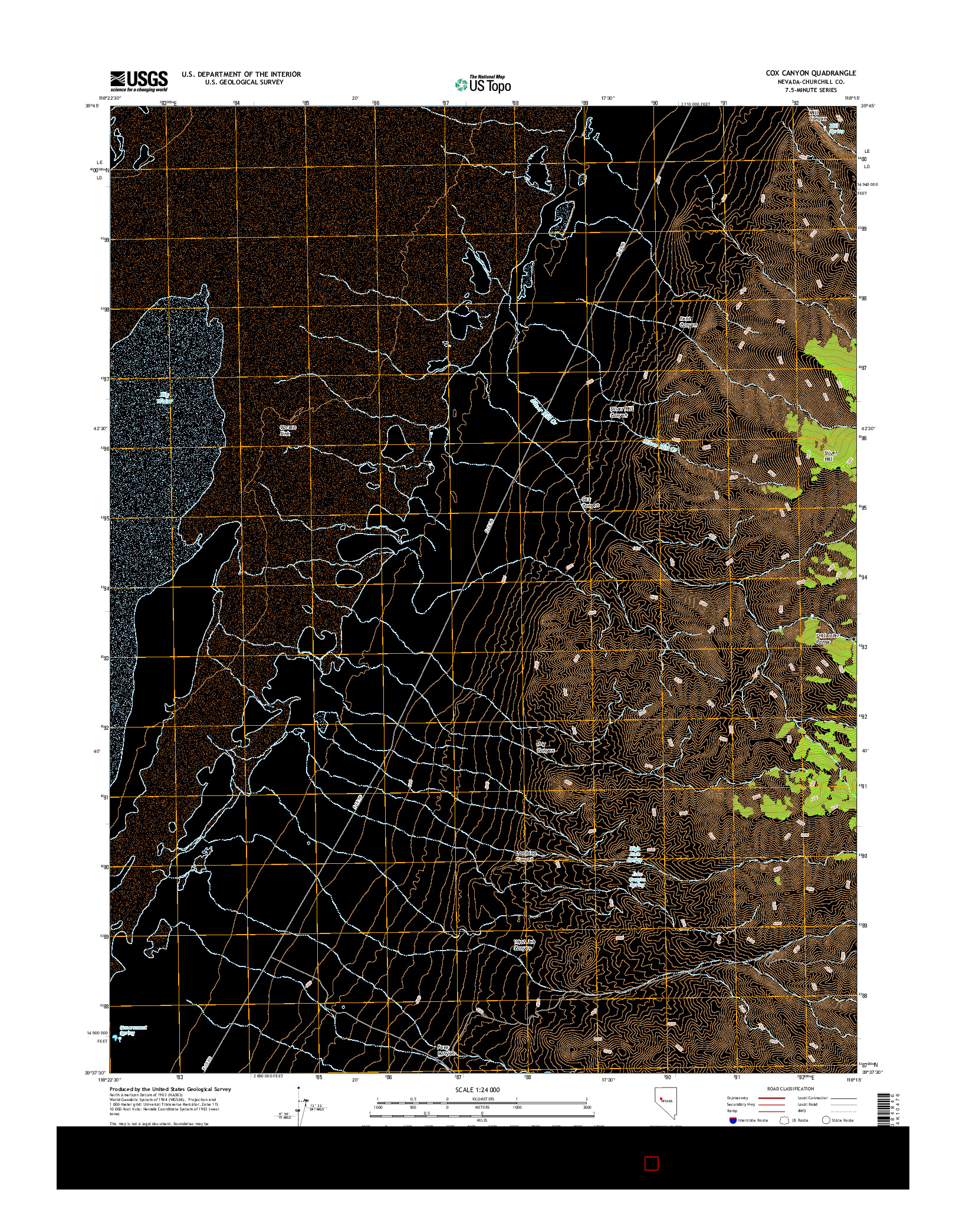 USGS US TOPO 7.5-MINUTE MAP FOR COX CANYON, NV 2014