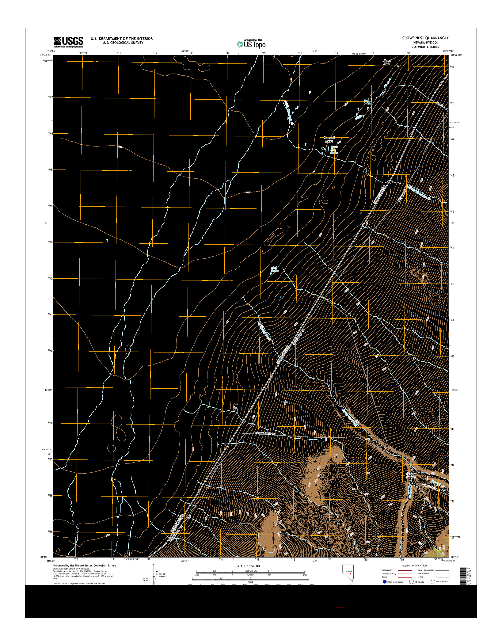 USGS US TOPO 7.5-MINUTE MAP FOR CROWS NEST, NV 2014