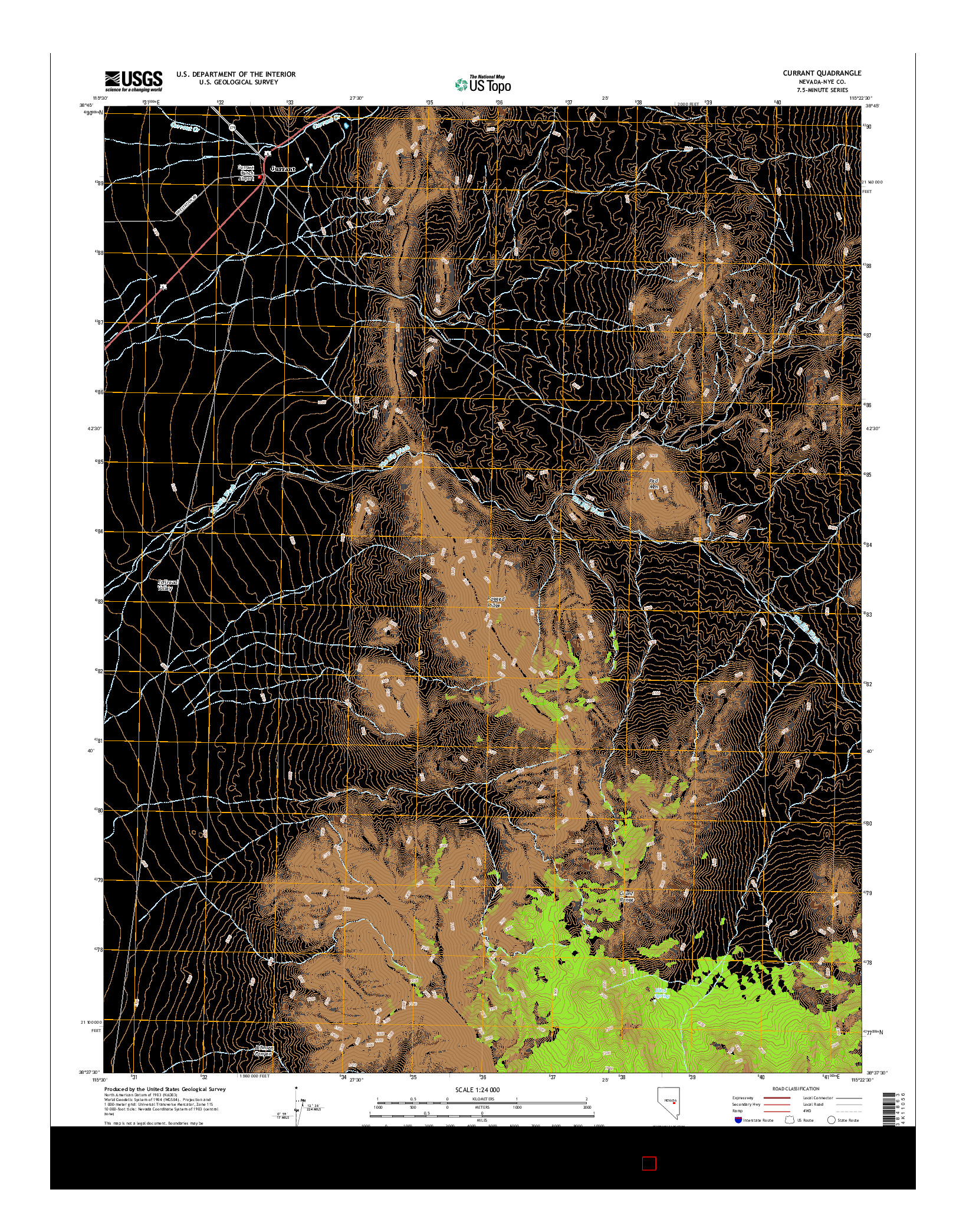 USGS US TOPO 7.5-MINUTE MAP FOR CURRANT, NV 2014
