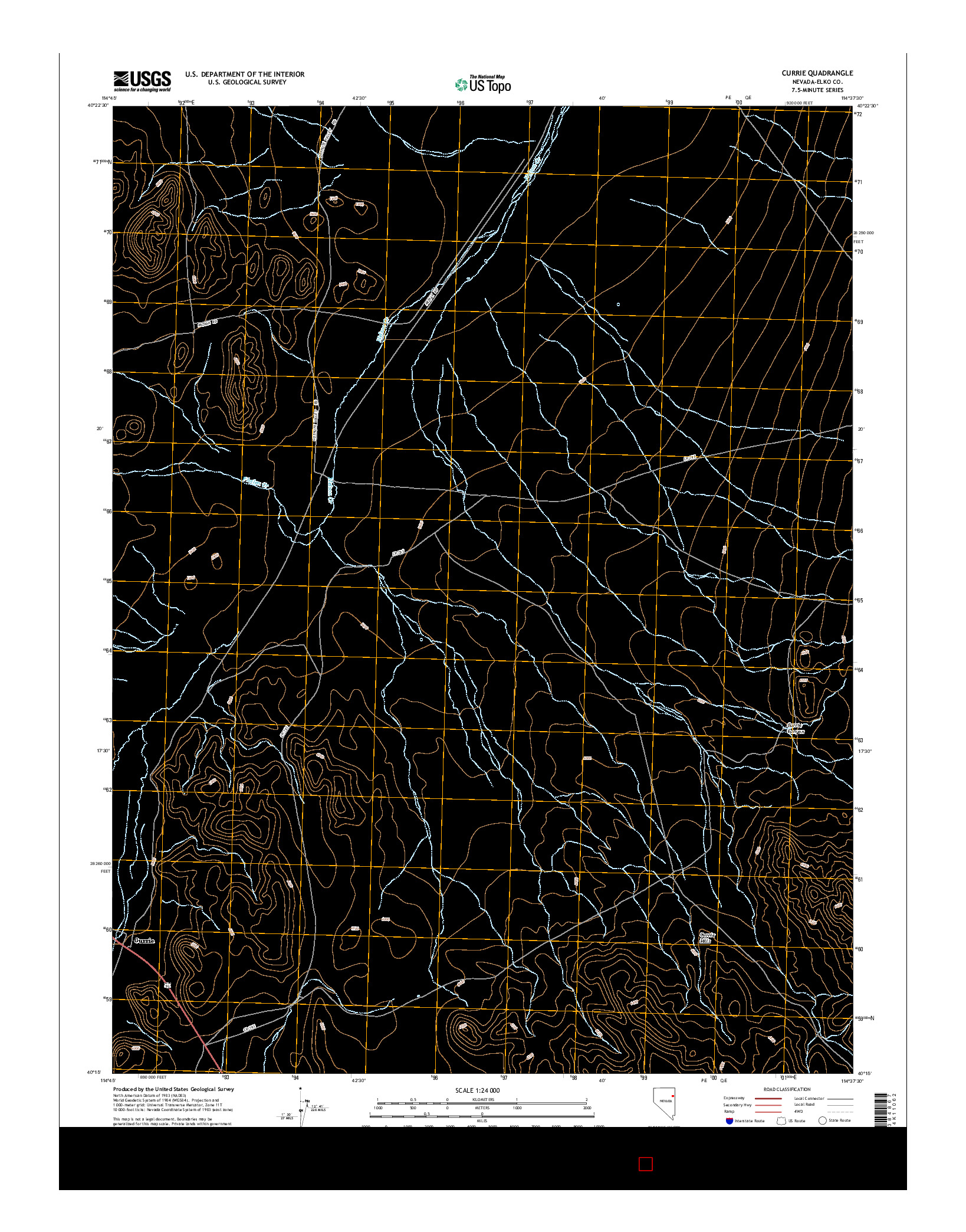 USGS US TOPO 7.5-MINUTE MAP FOR CURRIE, NV 2014