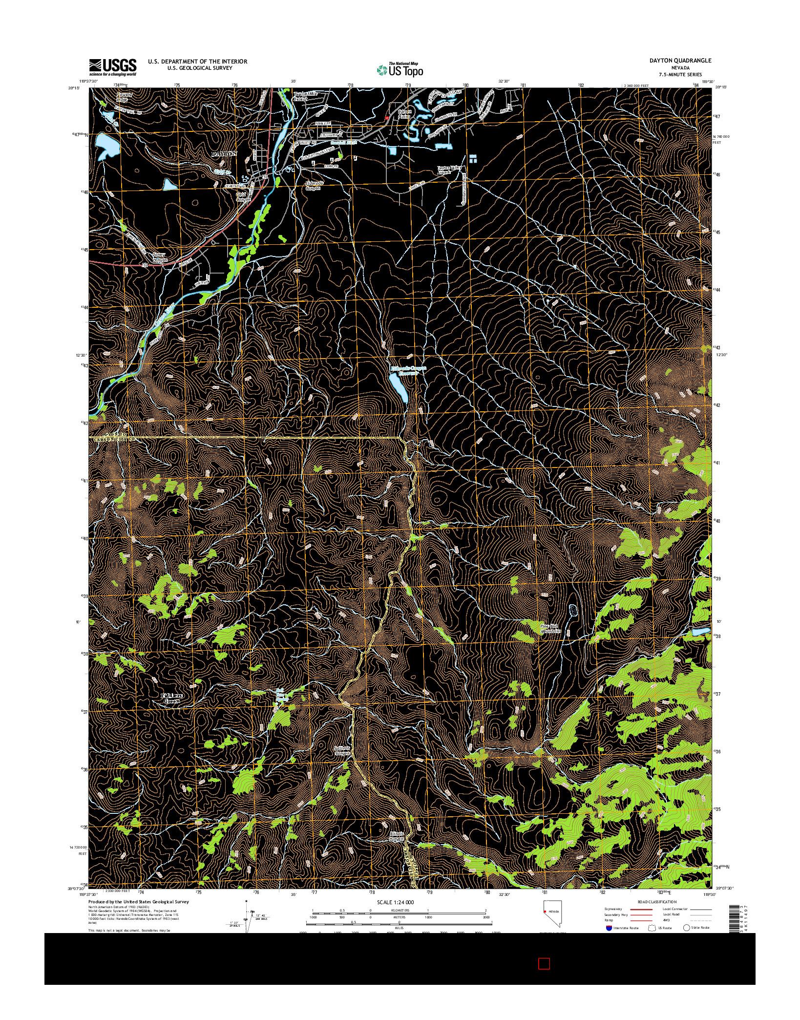 USGS US TOPO 7.5-MINUTE MAP FOR DAYTON, NV 2014