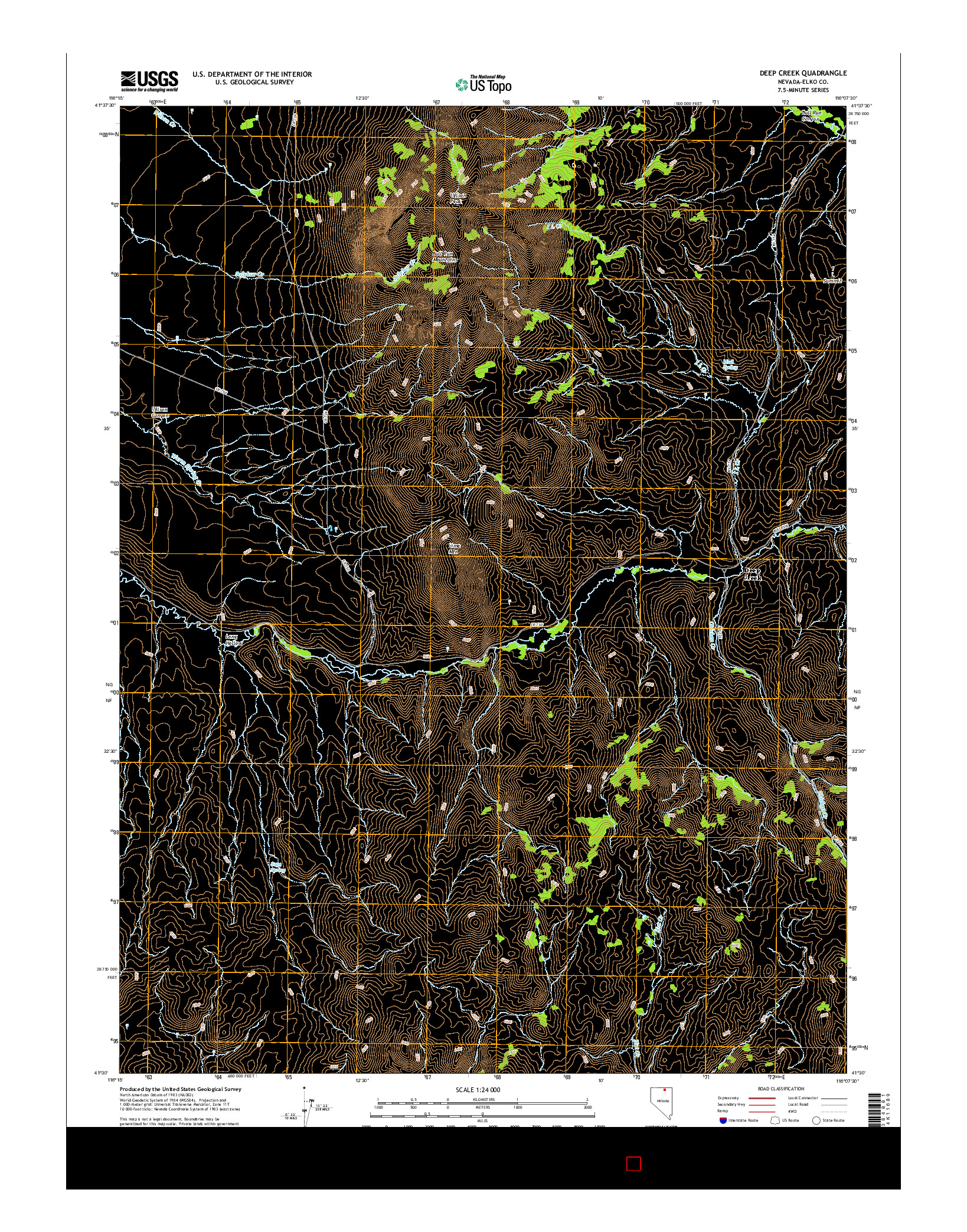 USGS US TOPO 7.5-MINUTE MAP FOR DEEP CREEK, NV 2014