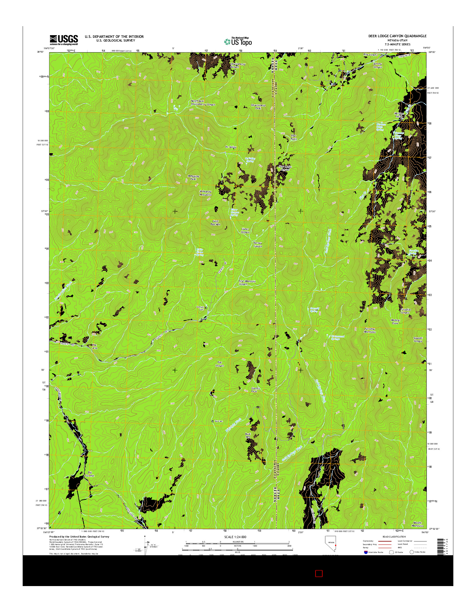 USGS US TOPO 7.5-MINUTE MAP FOR DEER LODGE CANYON, NV-UT 2014