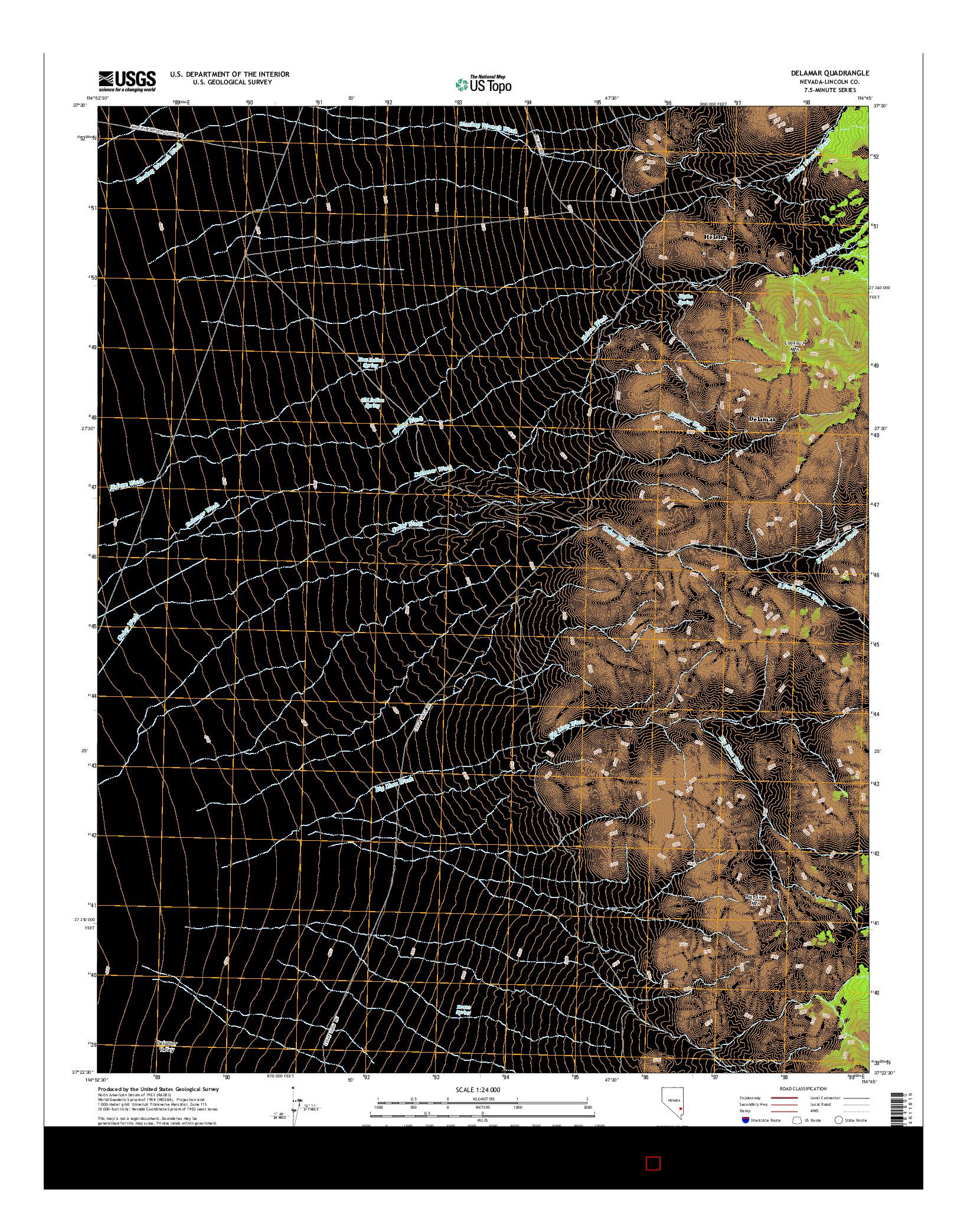 USGS US TOPO 7.5-MINUTE MAP FOR DELAMAR, NV 2014
