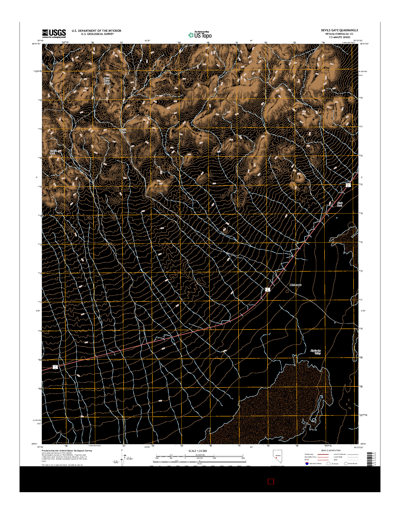 USGS US TOPO 7.5-MINUTE MAP FOR DEVILS GATE, NV 2014