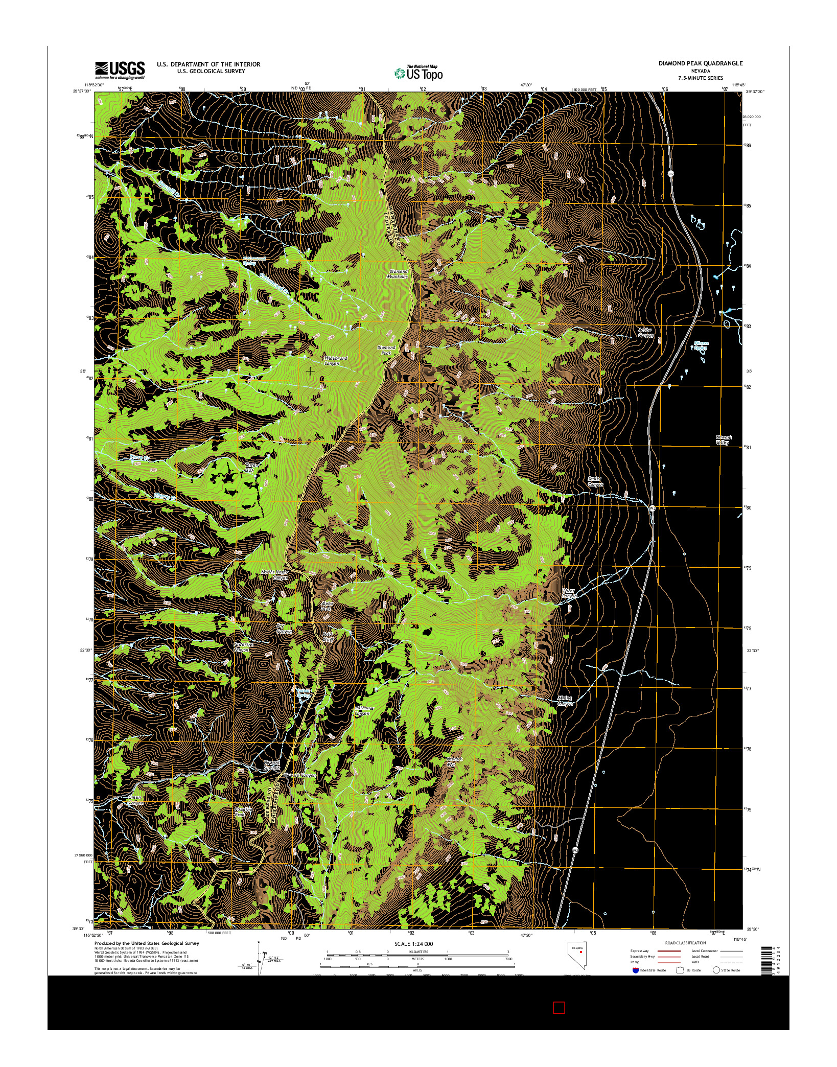 USGS US TOPO 7.5-MINUTE MAP FOR DIAMOND PEAK, NV 2014