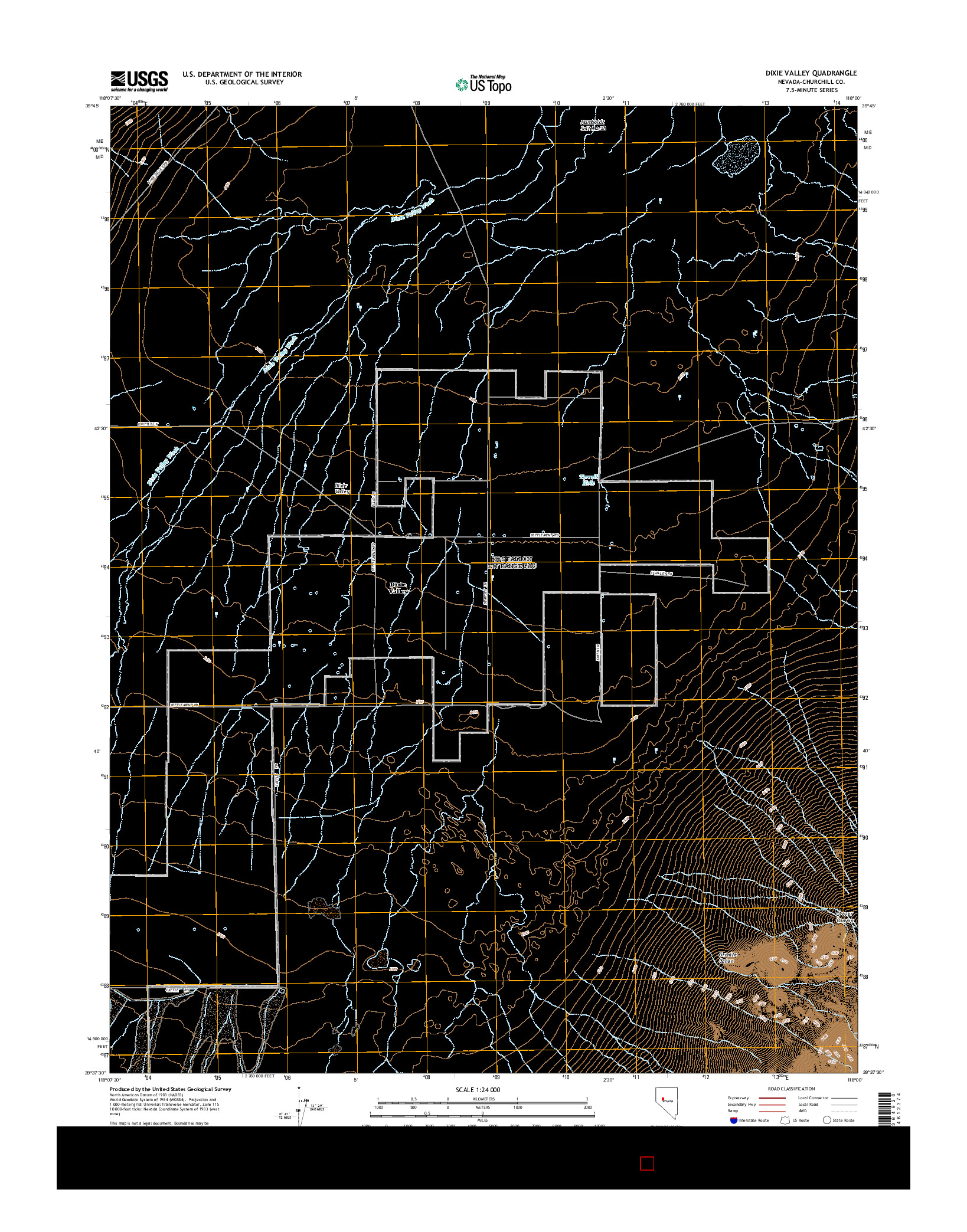 USGS US TOPO 7.5-MINUTE MAP FOR DIXIE VALLEY, NV 2014
