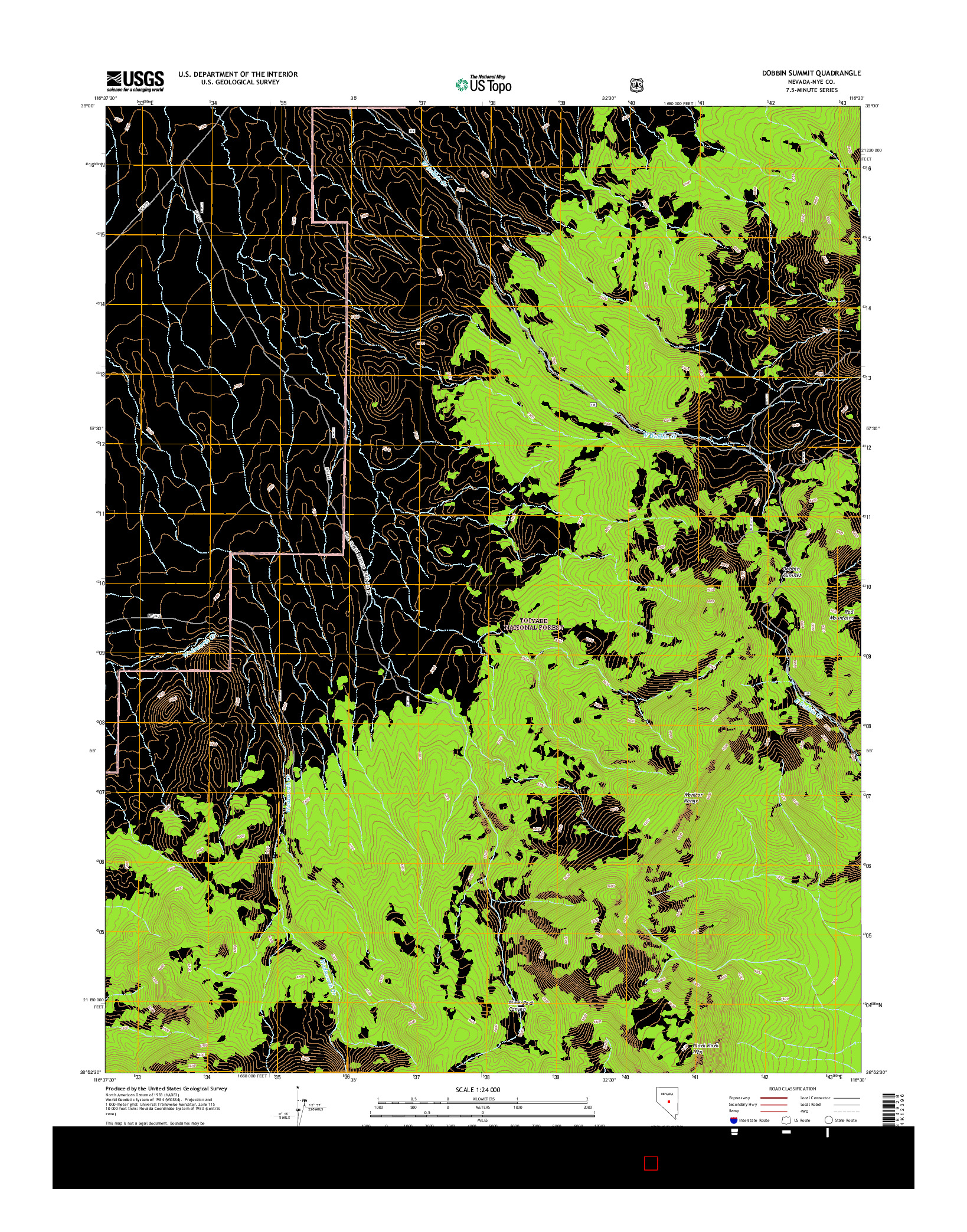 USGS US TOPO 7.5-MINUTE MAP FOR DOBBIN SUMMIT, NV 2014