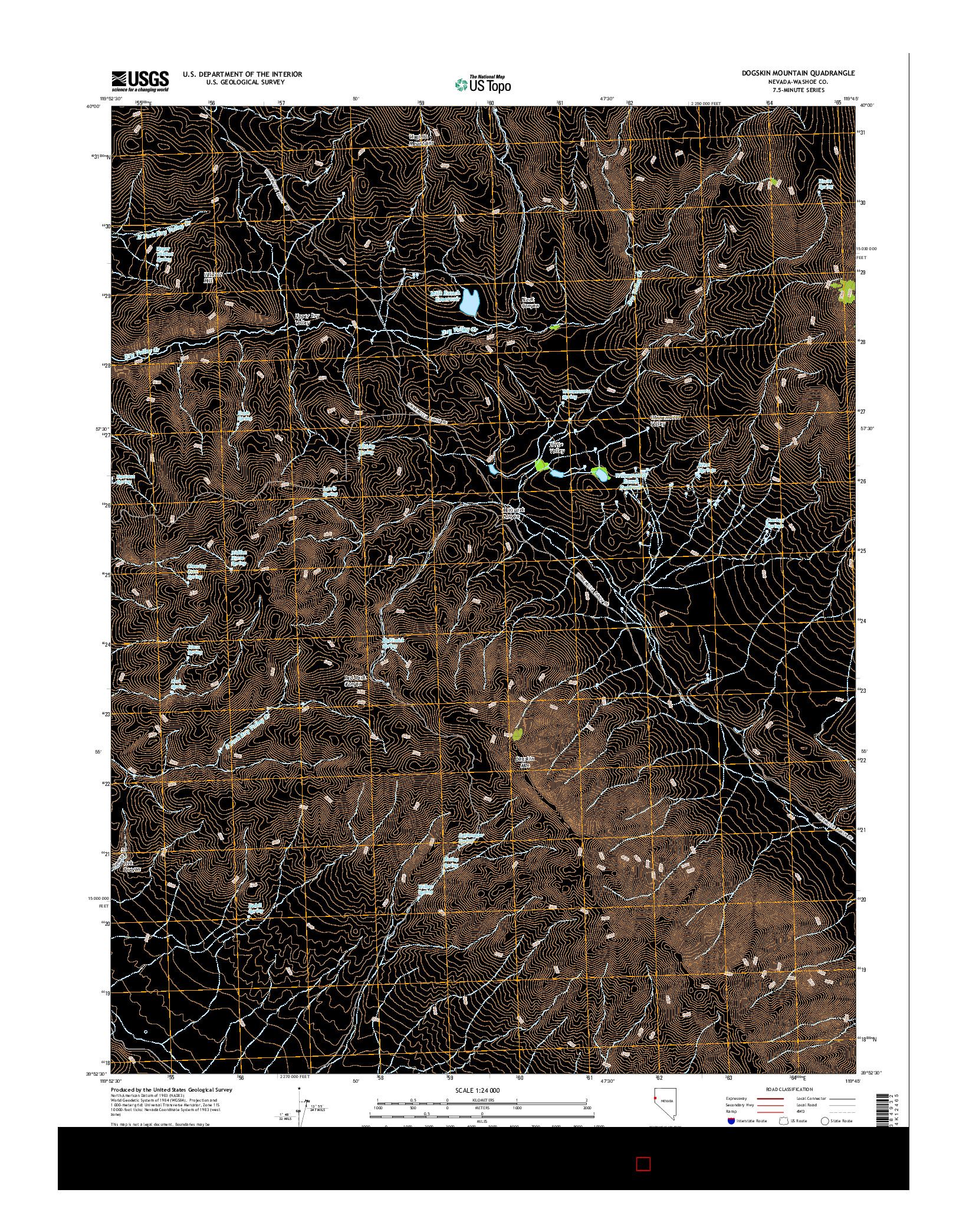 USGS US TOPO 7.5-MINUTE MAP FOR DOGSKIN MOUNTAIN, NV 2014