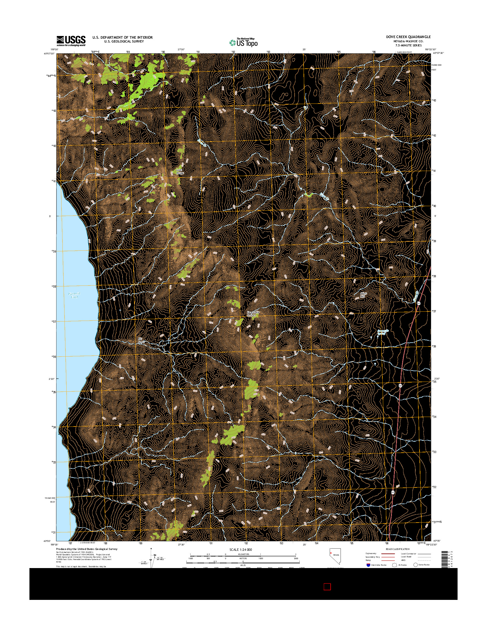 USGS US TOPO 7.5-MINUTE MAP FOR DOVE CREEK, NV 2014