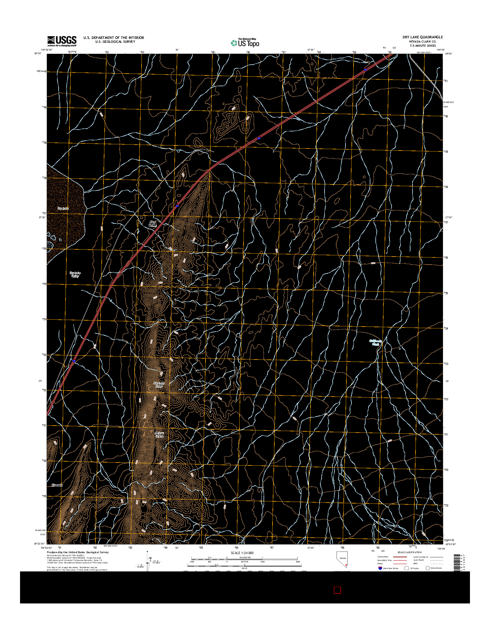 USGS US TOPO 7.5-MINUTE MAP FOR DRY LAKE, NV 2014