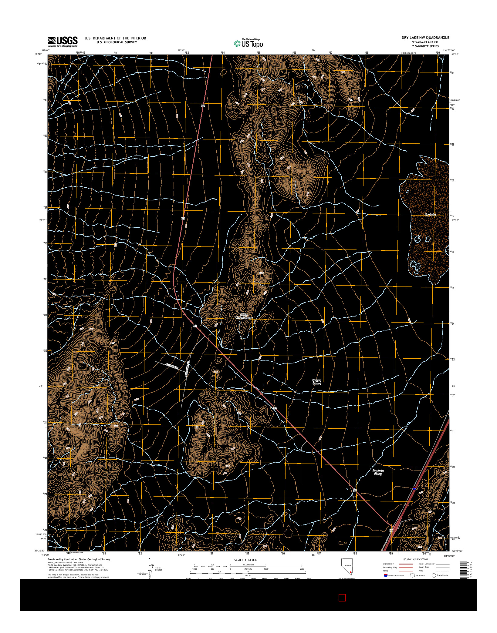 USGS US TOPO 7.5-MINUTE MAP FOR DRY LAKE NW, NV 2014