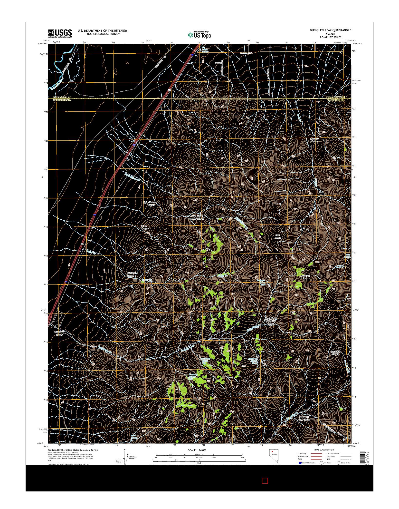 USGS US TOPO 7.5-MINUTE MAP FOR DUN GLEN PEAK, NV 2014