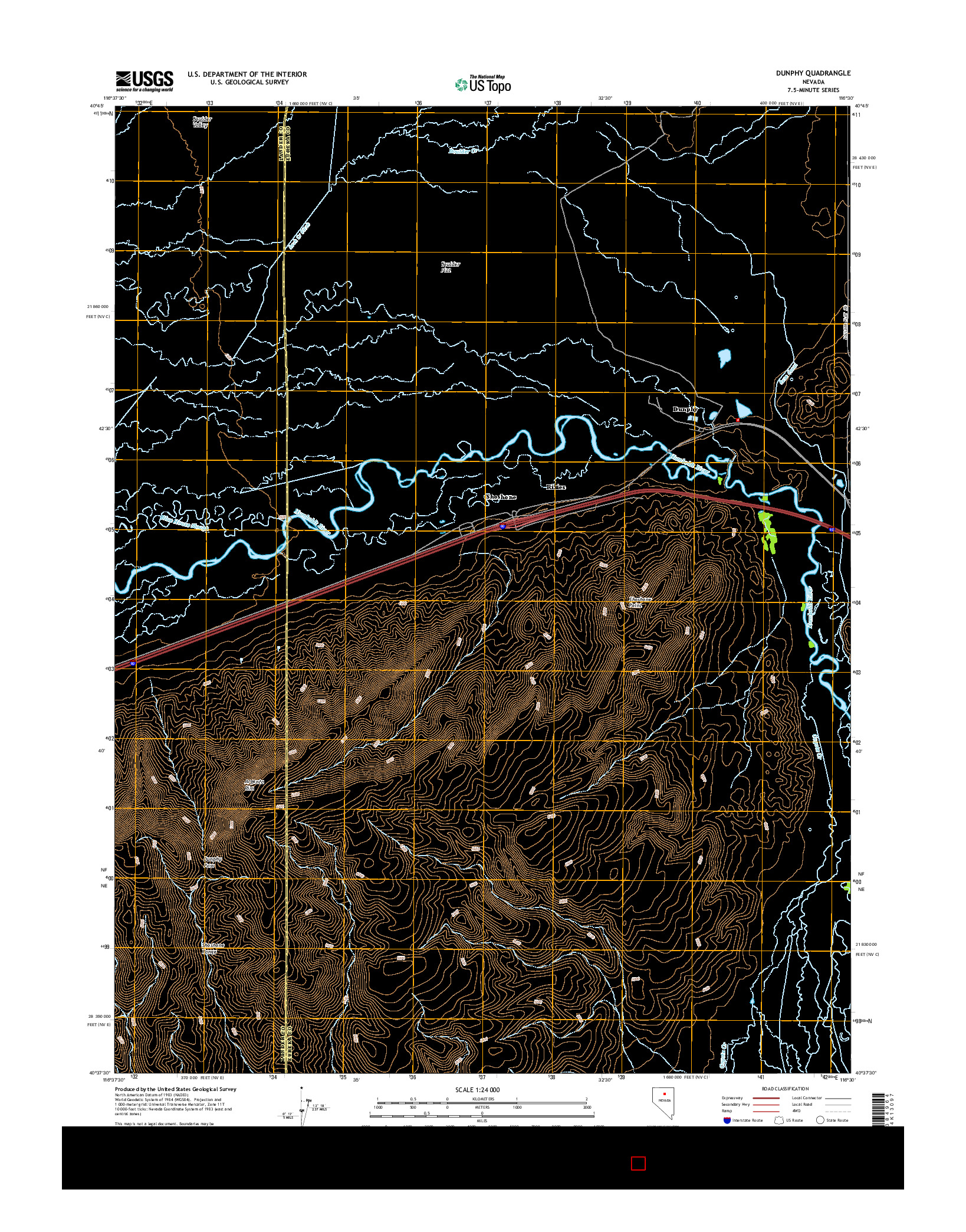 USGS US TOPO 7.5-MINUTE MAP FOR DUNPHY, NV 2014