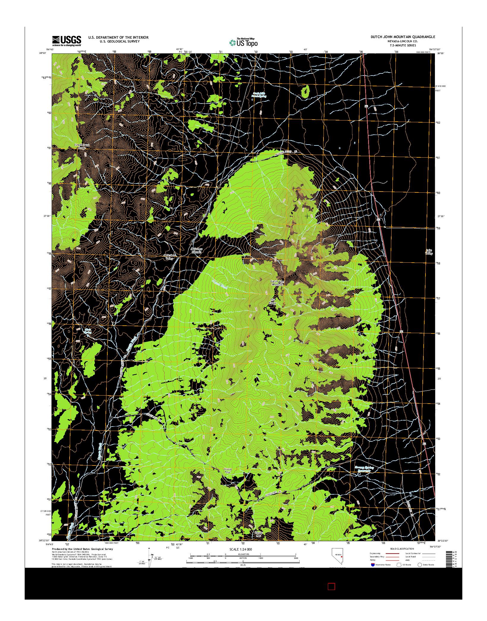 USGS US TOPO 7.5-MINUTE MAP FOR DUTCH JOHN MOUNTAIN, NV 2014