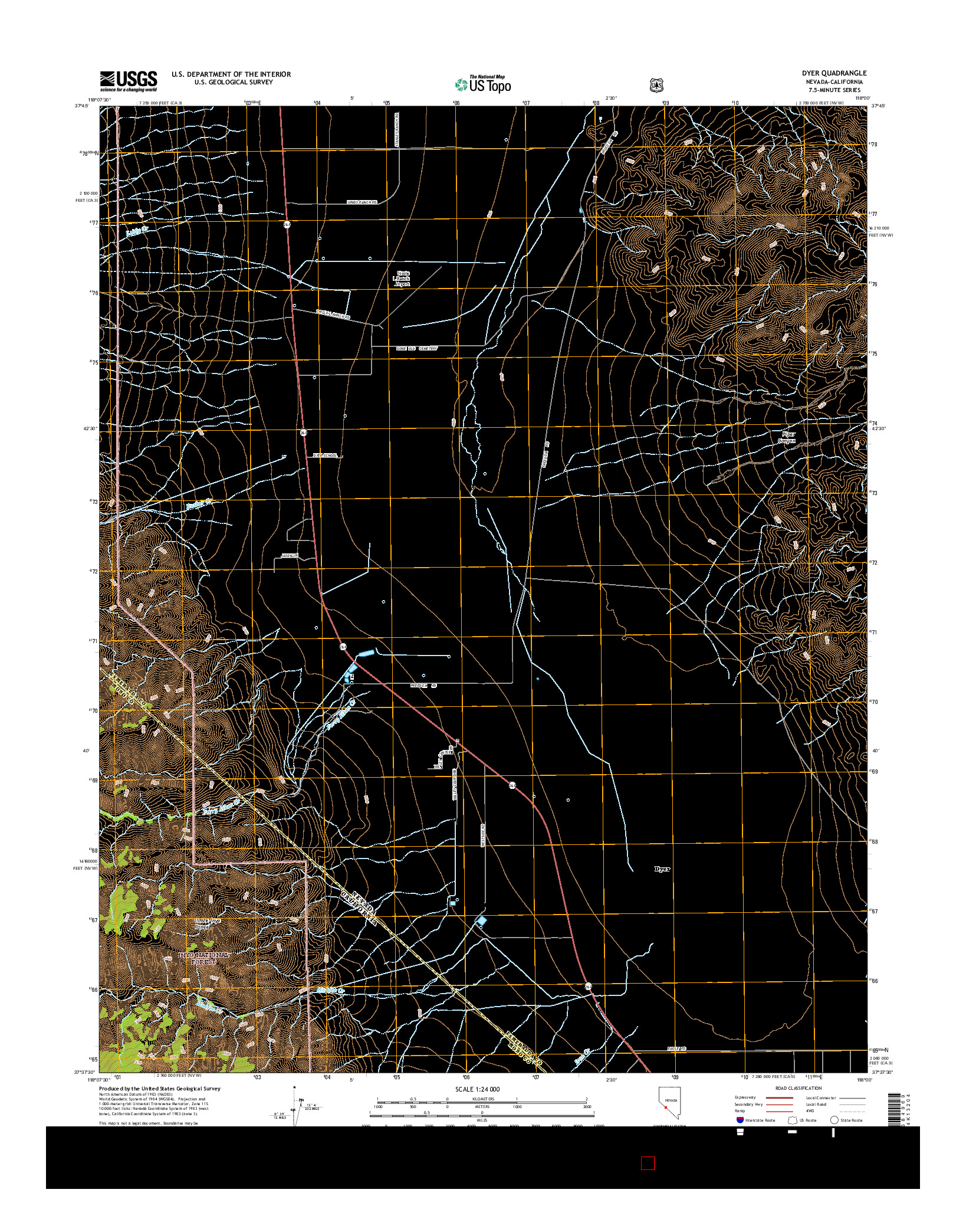 USGS US TOPO 7.5-MINUTE MAP FOR DYER, NV-CA 2014