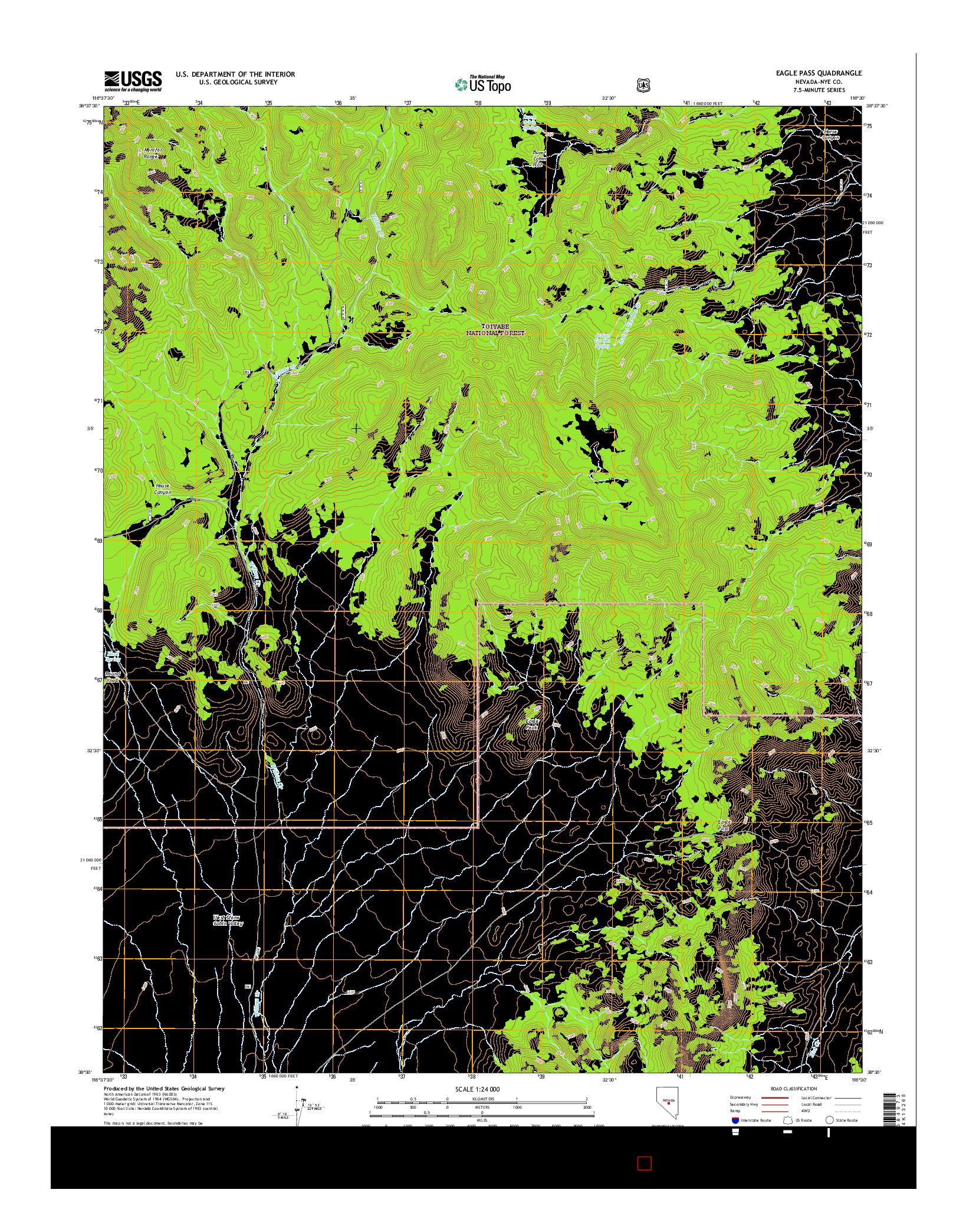 USGS US TOPO 7.5-MINUTE MAP FOR EAGLE PASS, NV 2014