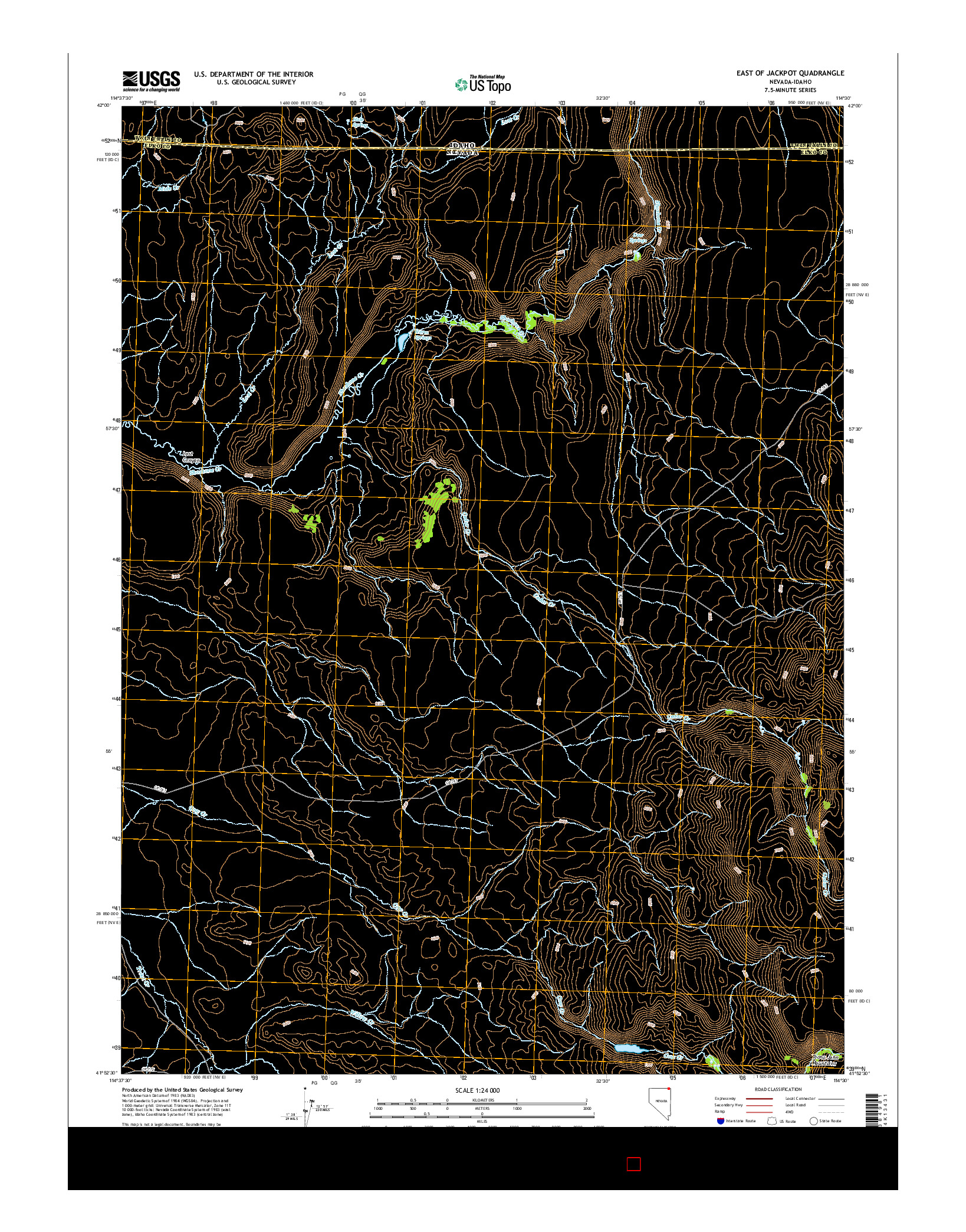 USGS US TOPO 7.5-MINUTE MAP FOR EAST OF JACKPOT, NV-ID 2014