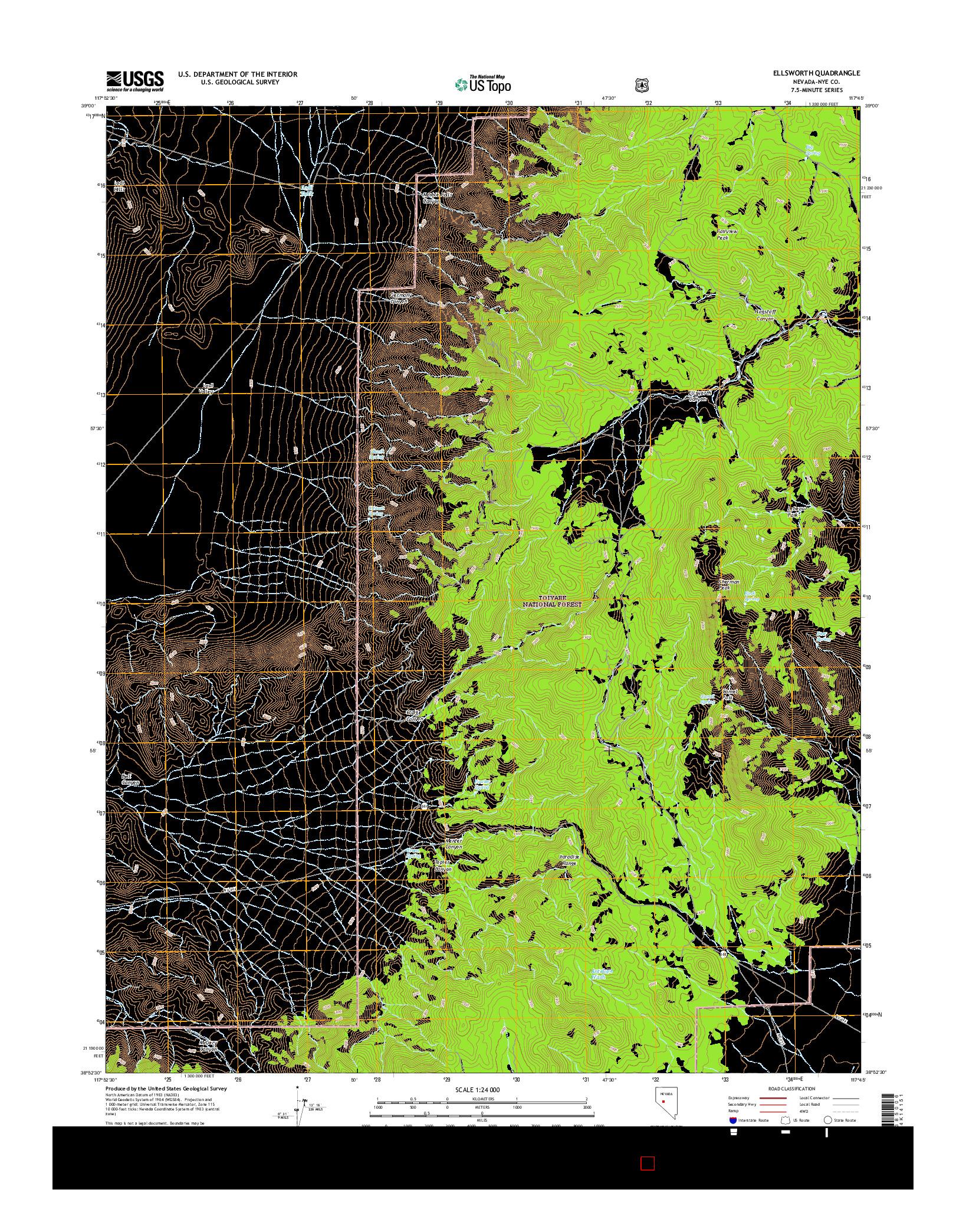 USGS US TOPO 7.5-MINUTE MAP FOR ELLSWORTH, NV 2014