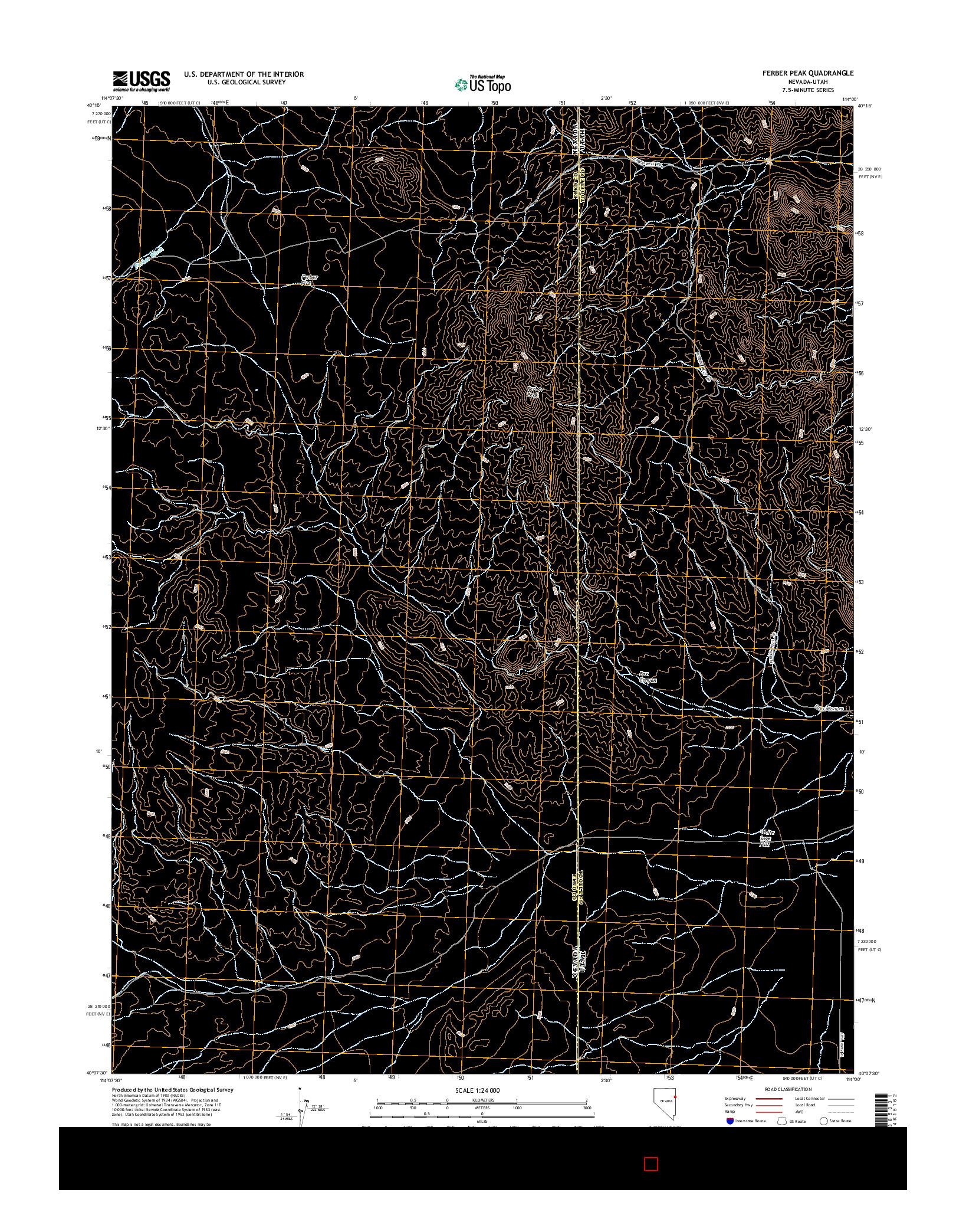 USGS US TOPO 7.5-MINUTE MAP FOR FERBER PEAK, NV-UT 2014