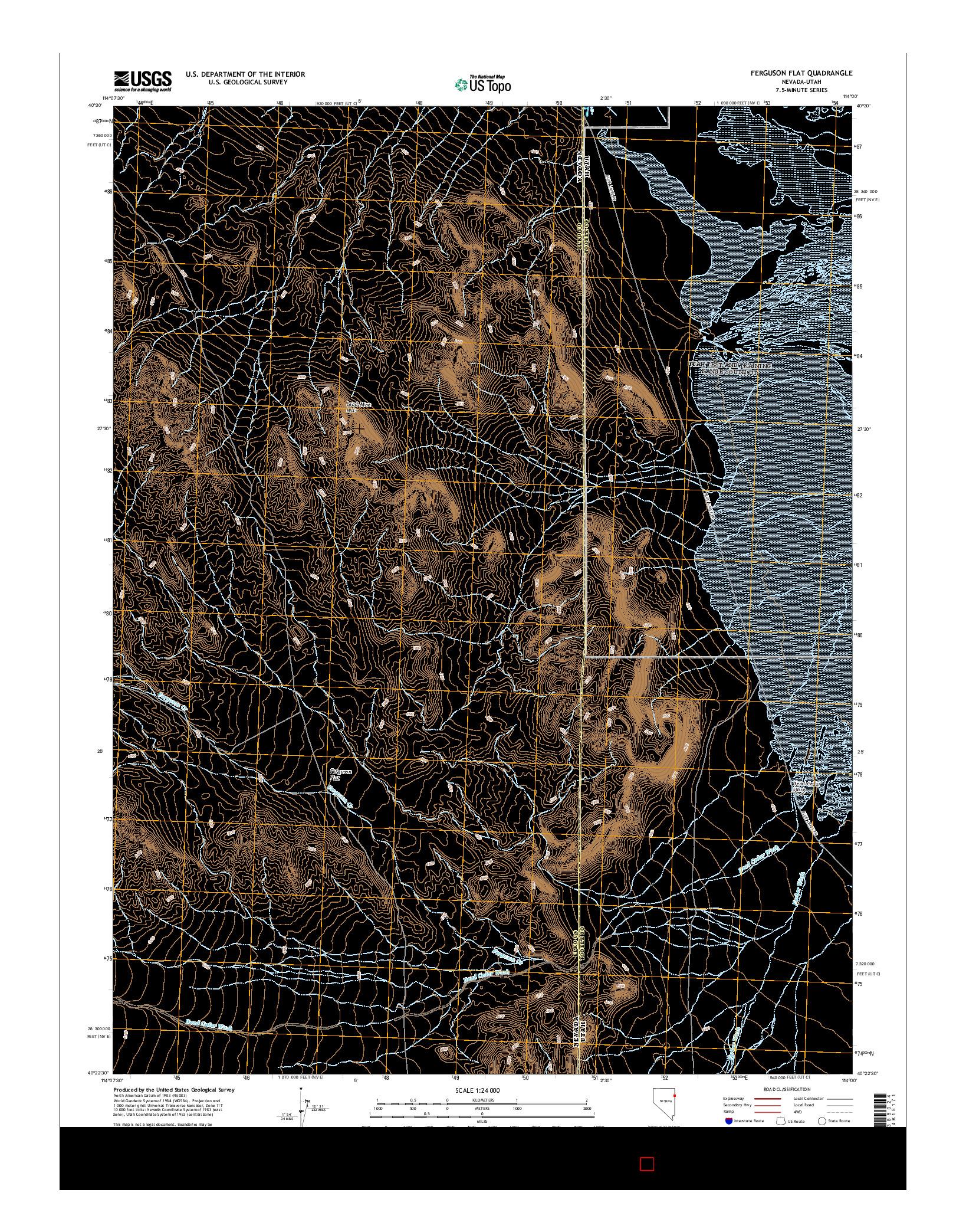 USGS US TOPO 7.5-MINUTE MAP FOR FERGUSON FLAT, NV-UT 2014
