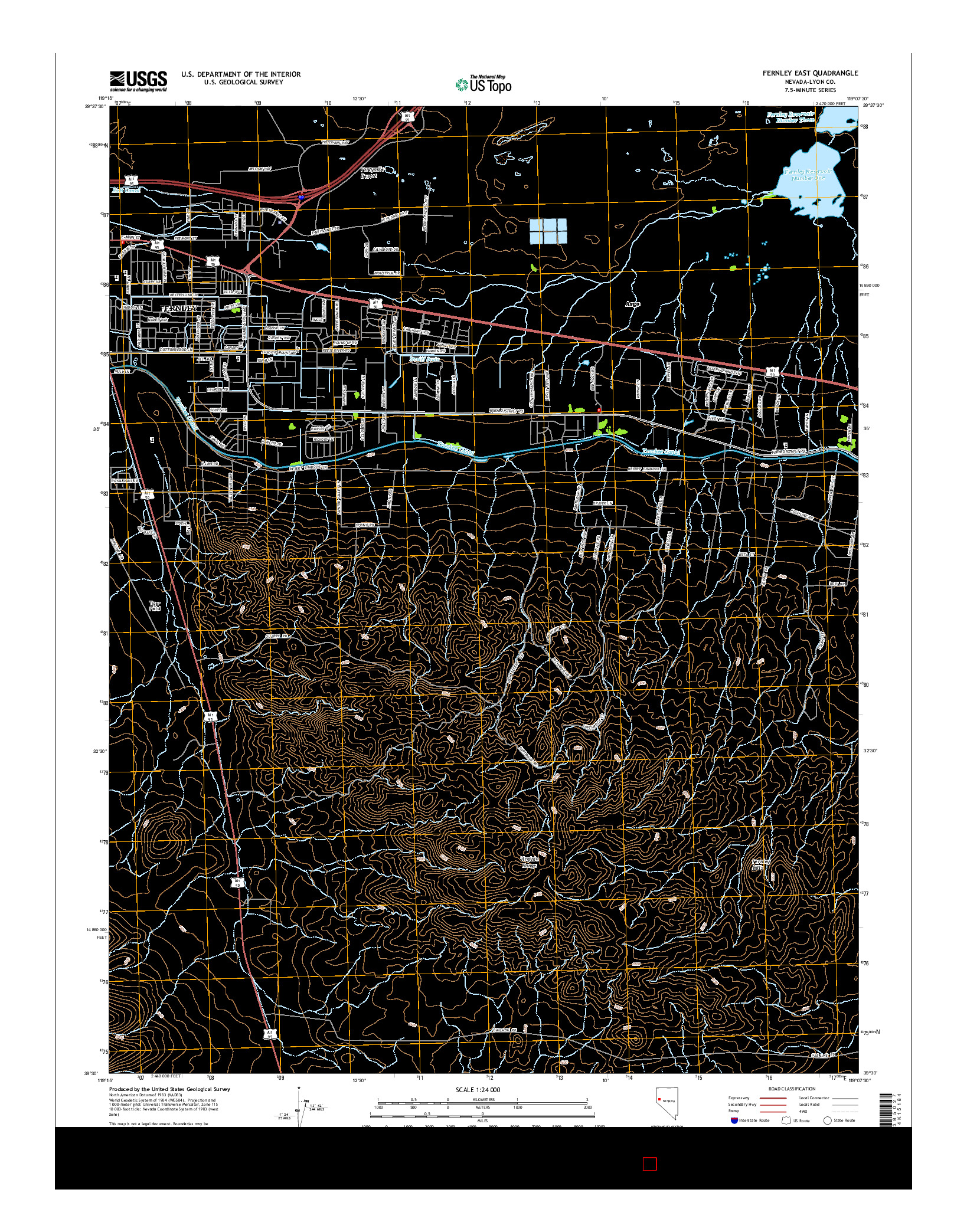 USGS US TOPO 7.5-MINUTE MAP FOR FERNLEY EAST, NV 2014