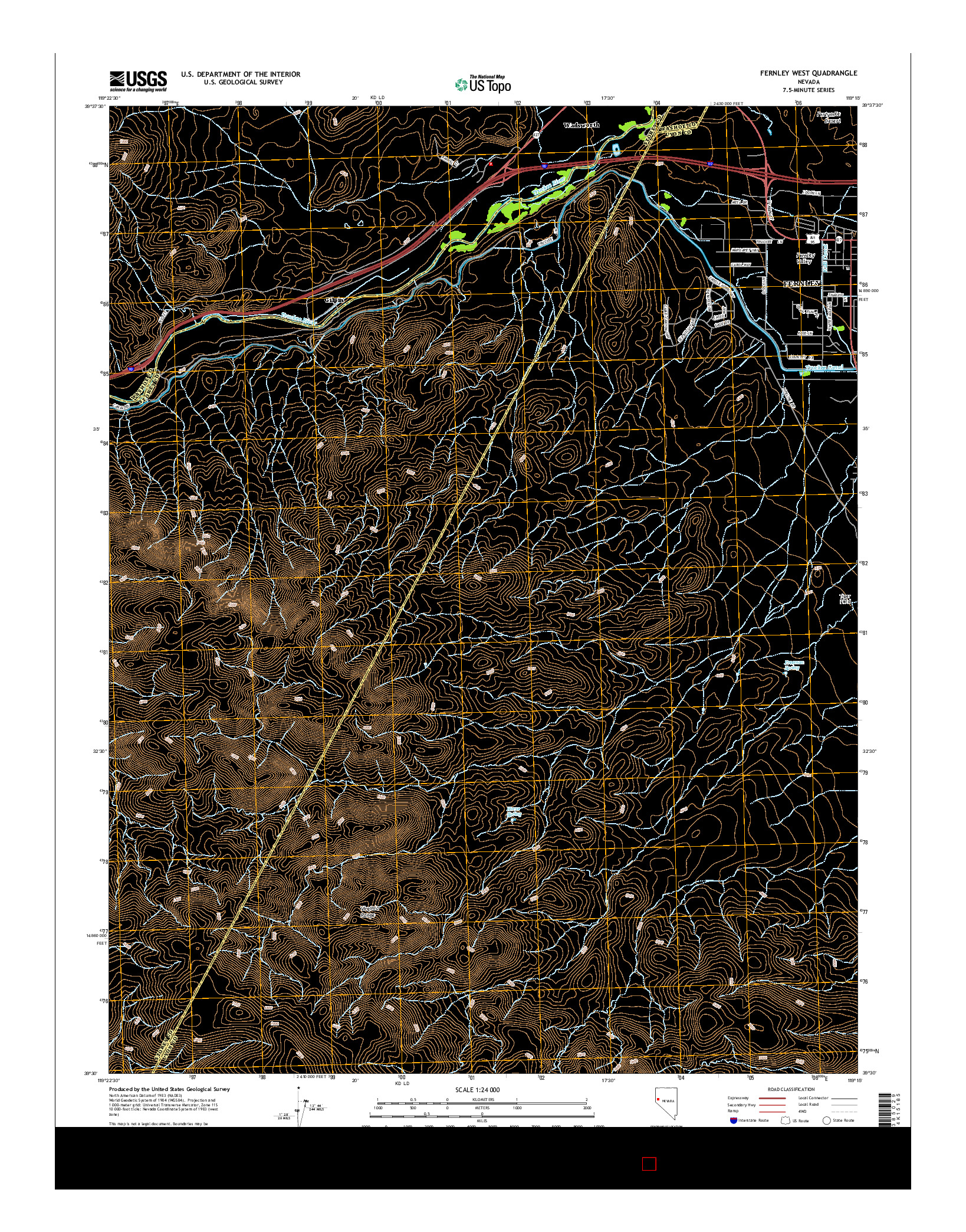USGS US TOPO 7.5-MINUTE MAP FOR FERNLEY WEST, NV 2014