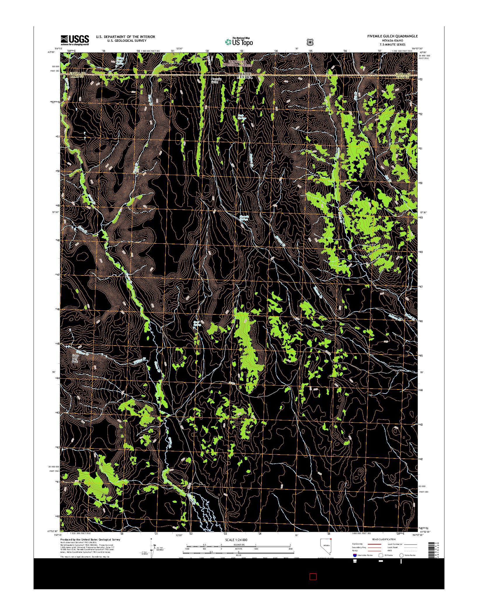 USGS US TOPO 7.5-MINUTE MAP FOR FIVEMILE GULCH, NV-ID 2014