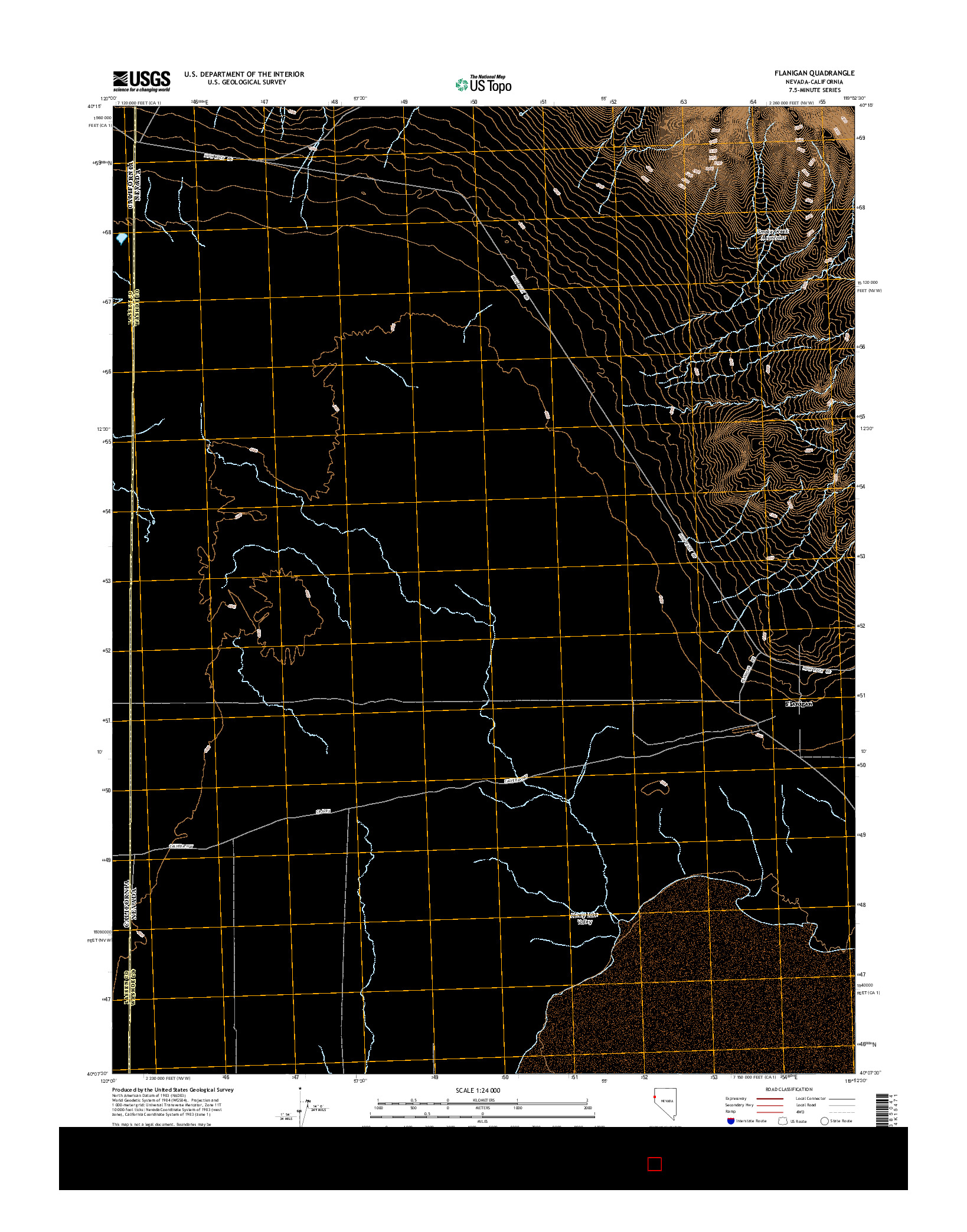 USGS US TOPO 7.5-MINUTE MAP FOR FLANIGAN, NV-CA 2014