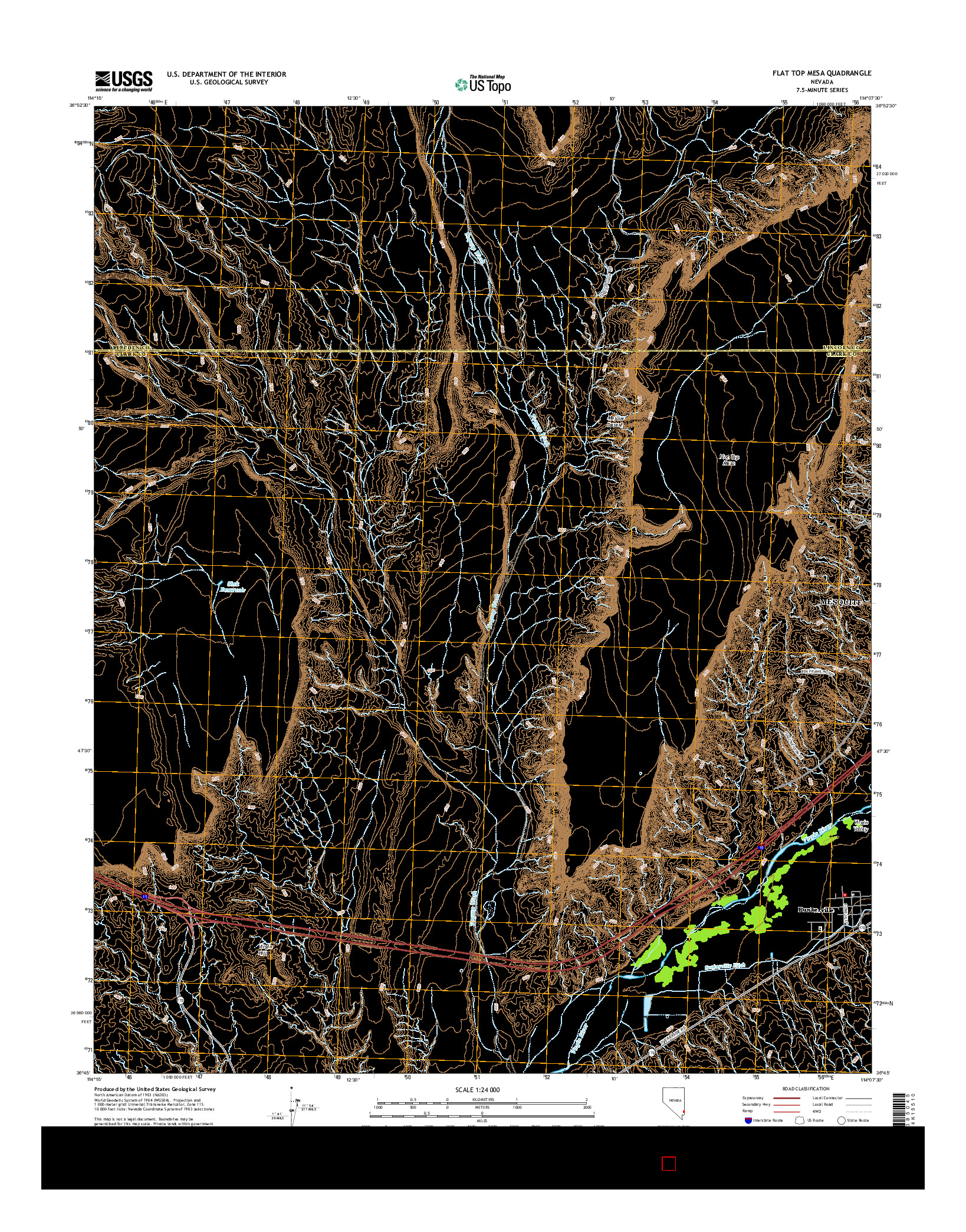 USGS US TOPO 7.5-MINUTE MAP FOR FLAT TOP MESA, NV 2014