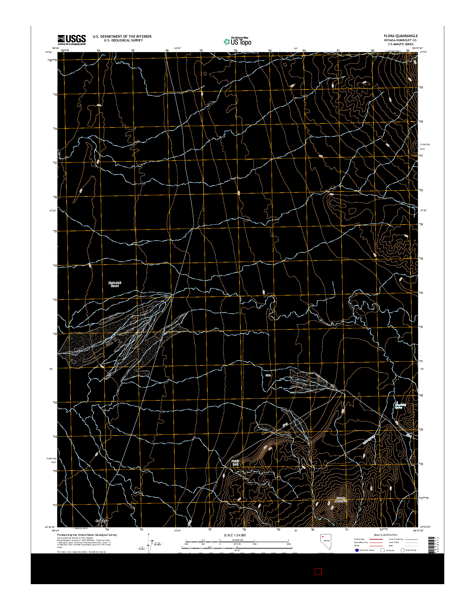 USGS US TOPO 7.5-MINUTE MAP FOR FLOKA, NV 2014
