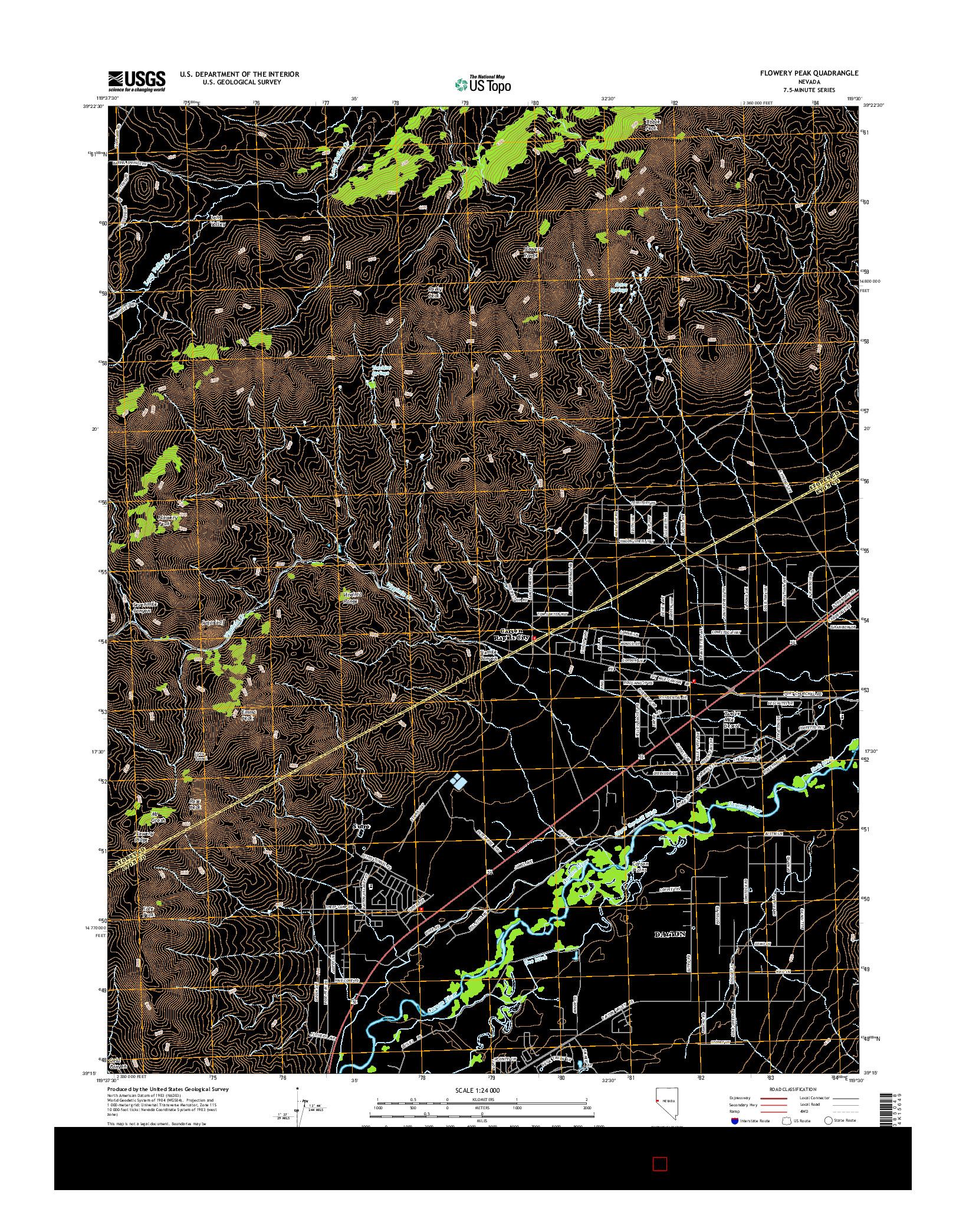 USGS US TOPO 7.5-MINUTE MAP FOR FLOWERY PEAK, NV 2014