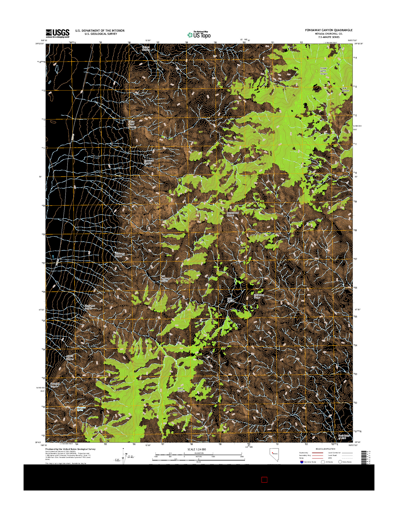 USGS US TOPO 7.5-MINUTE MAP FOR FONDAWAY CANYON, NV 2014