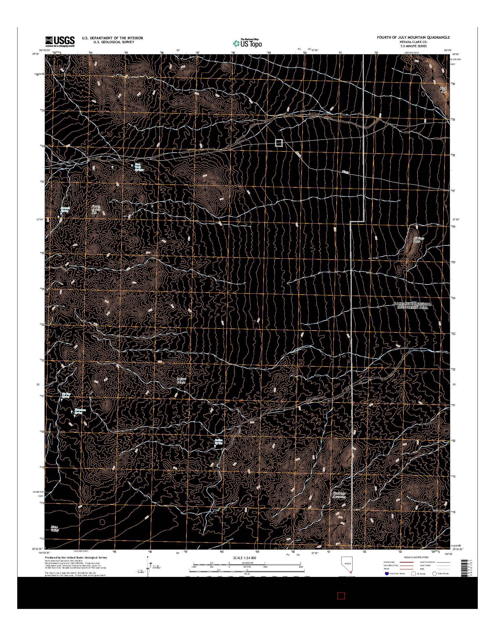 USGS US TOPO 7.5-MINUTE MAP FOR FOURTH OF JULY MOUNTAIN, NV 2014