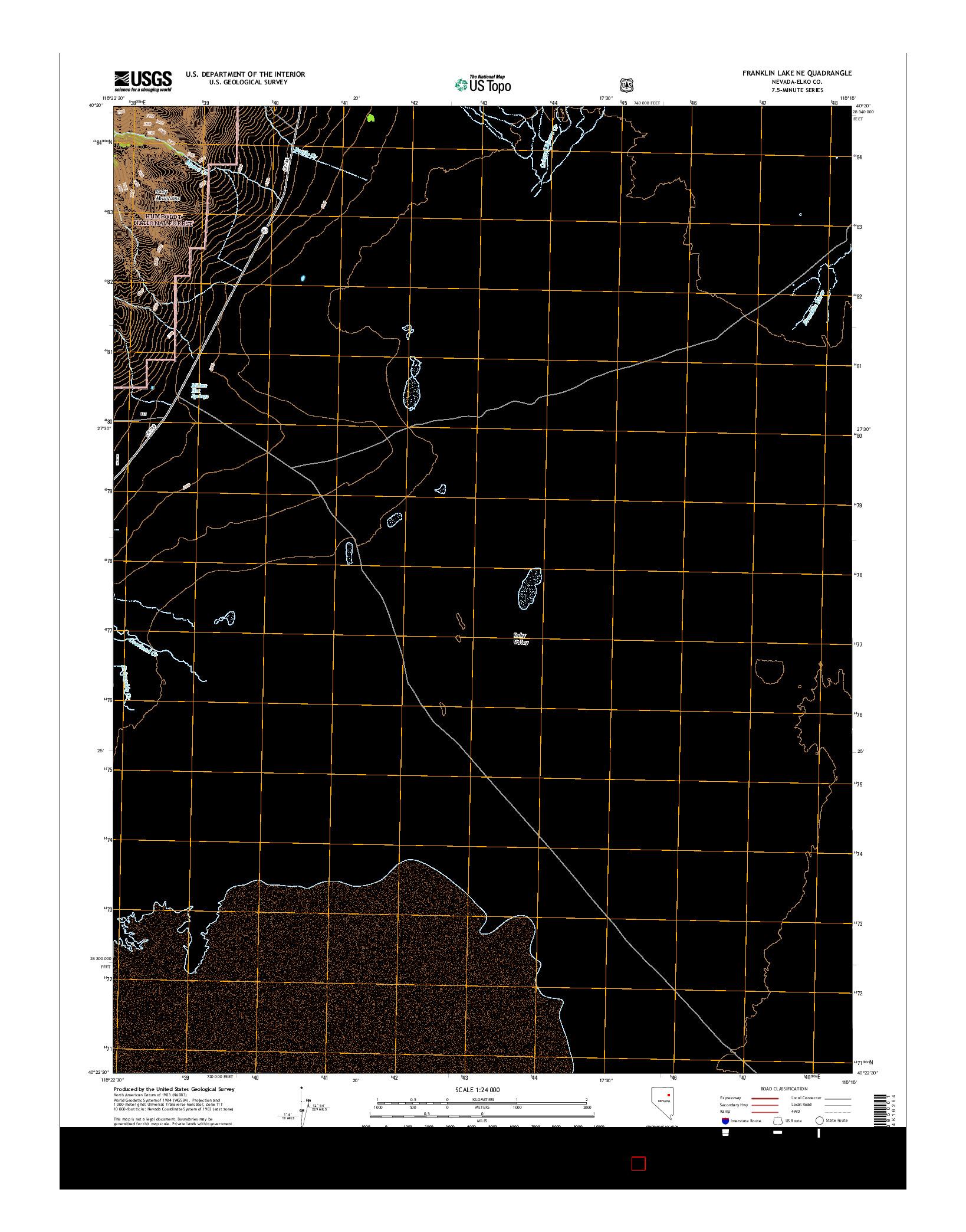 USGS US TOPO 7.5-MINUTE MAP FOR FRANKLIN LAKE NE, NV 2014