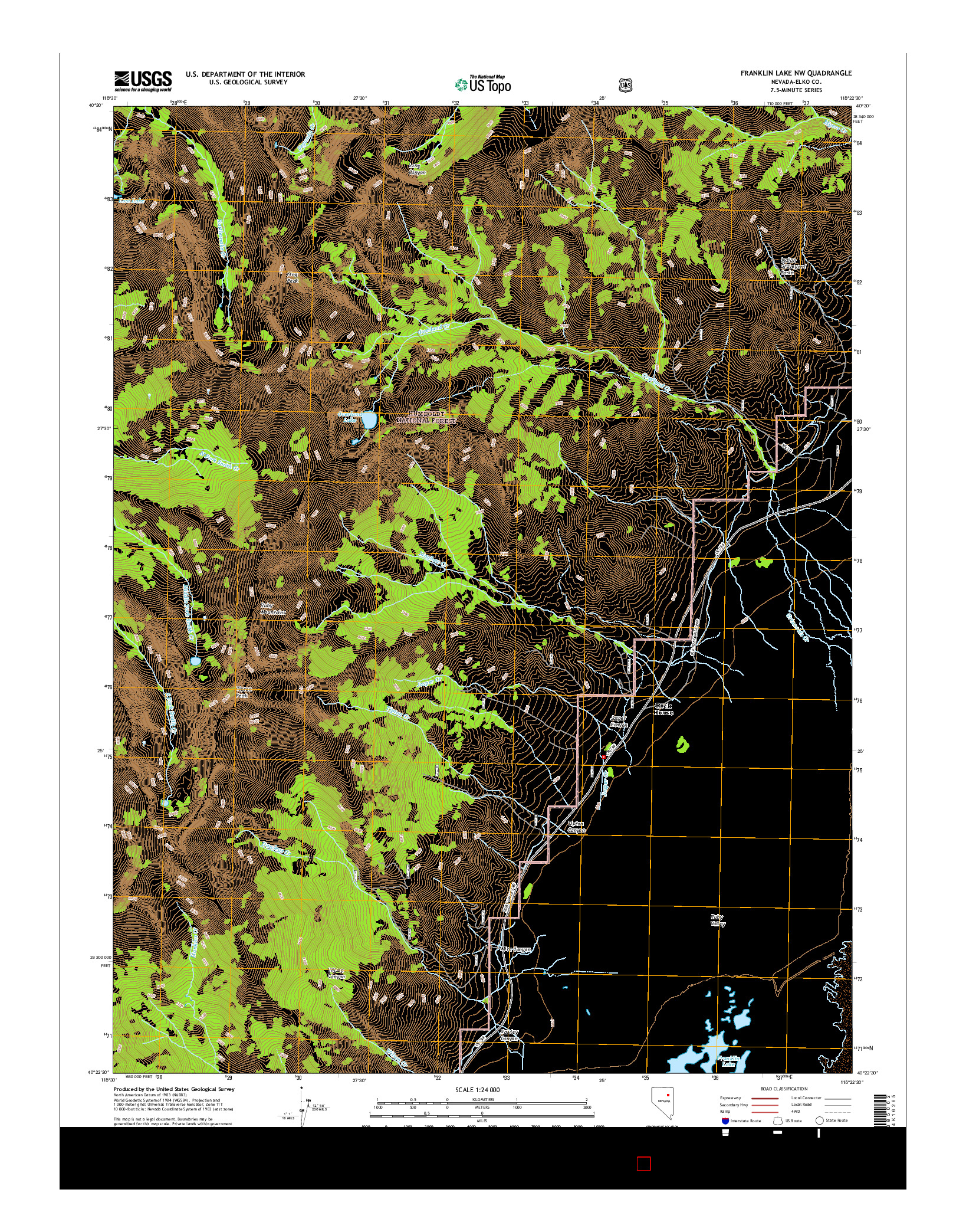 USGS US TOPO 7.5-MINUTE MAP FOR FRANKLIN LAKE NW, NV 2014