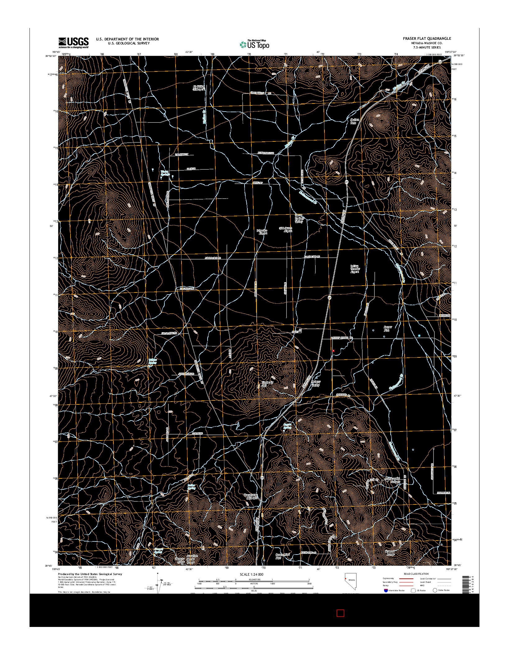 USGS US TOPO 7.5-MINUTE MAP FOR FRASER FLAT, NV 2014