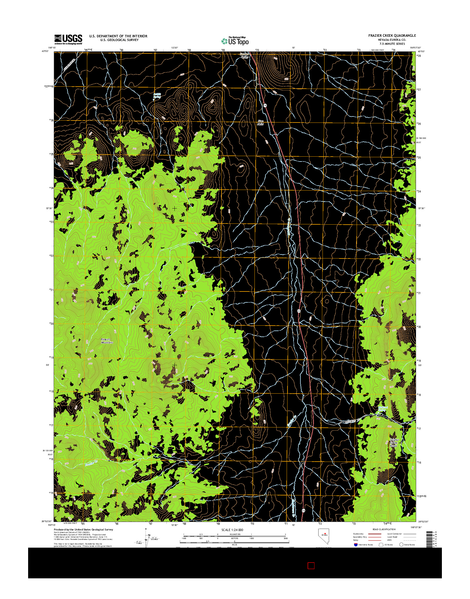 USGS US TOPO 7.5-MINUTE MAP FOR FRAZIER CREEK, NV 2014