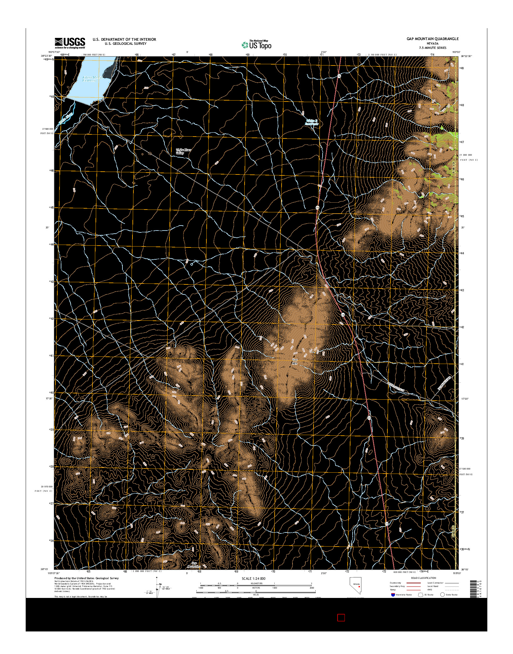 USGS US TOPO 7.5-MINUTE MAP FOR GAP MOUNTAIN, NV 2014
