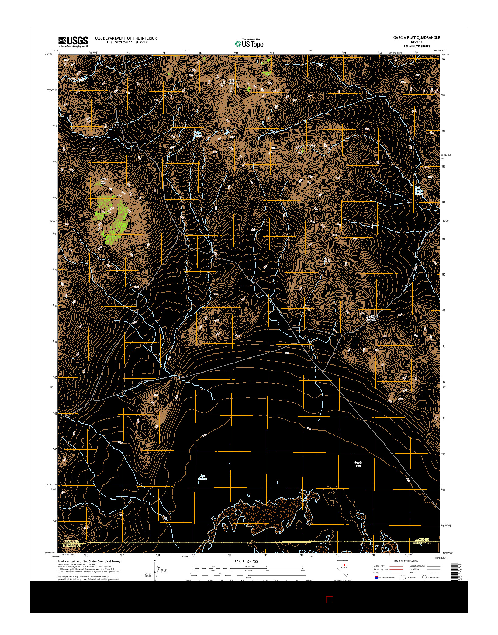 USGS US TOPO 7.5-MINUTE MAP FOR GARCIA FLAT, NV 2014