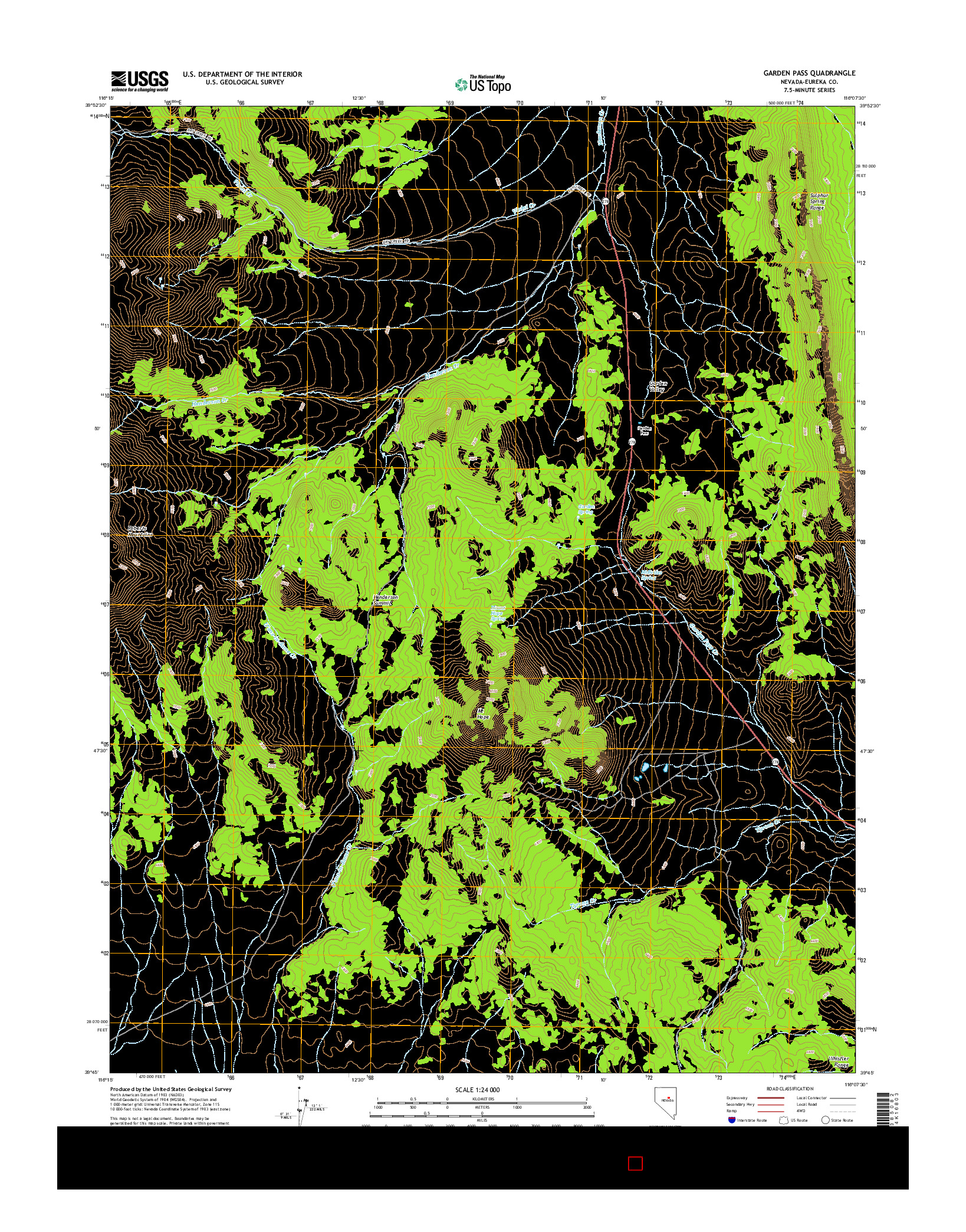 USGS US TOPO 7.5-MINUTE MAP FOR GARDEN PASS, NV 2014